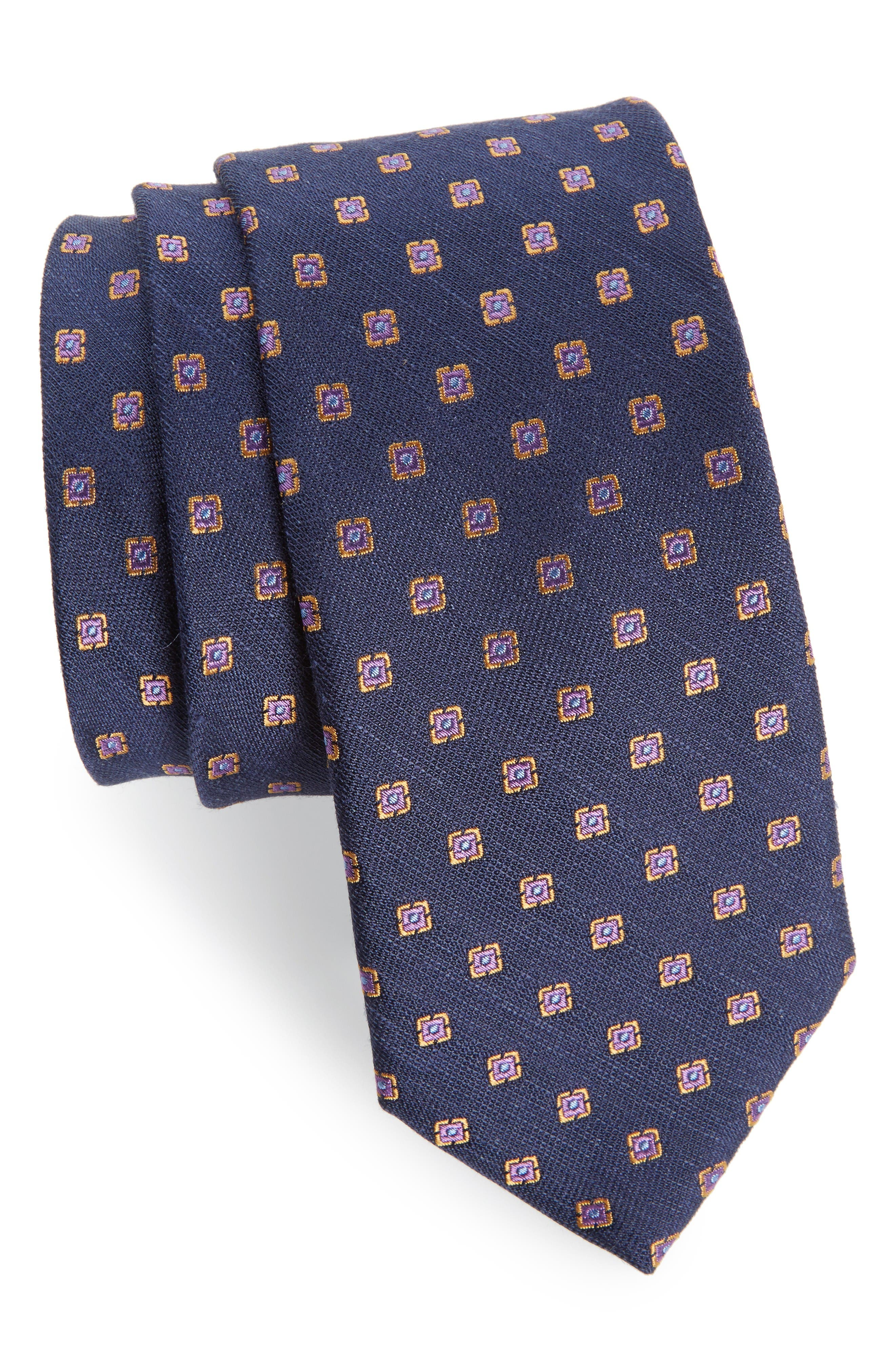 THE TIE BAR Medallion Scene Silk & Linen Tie