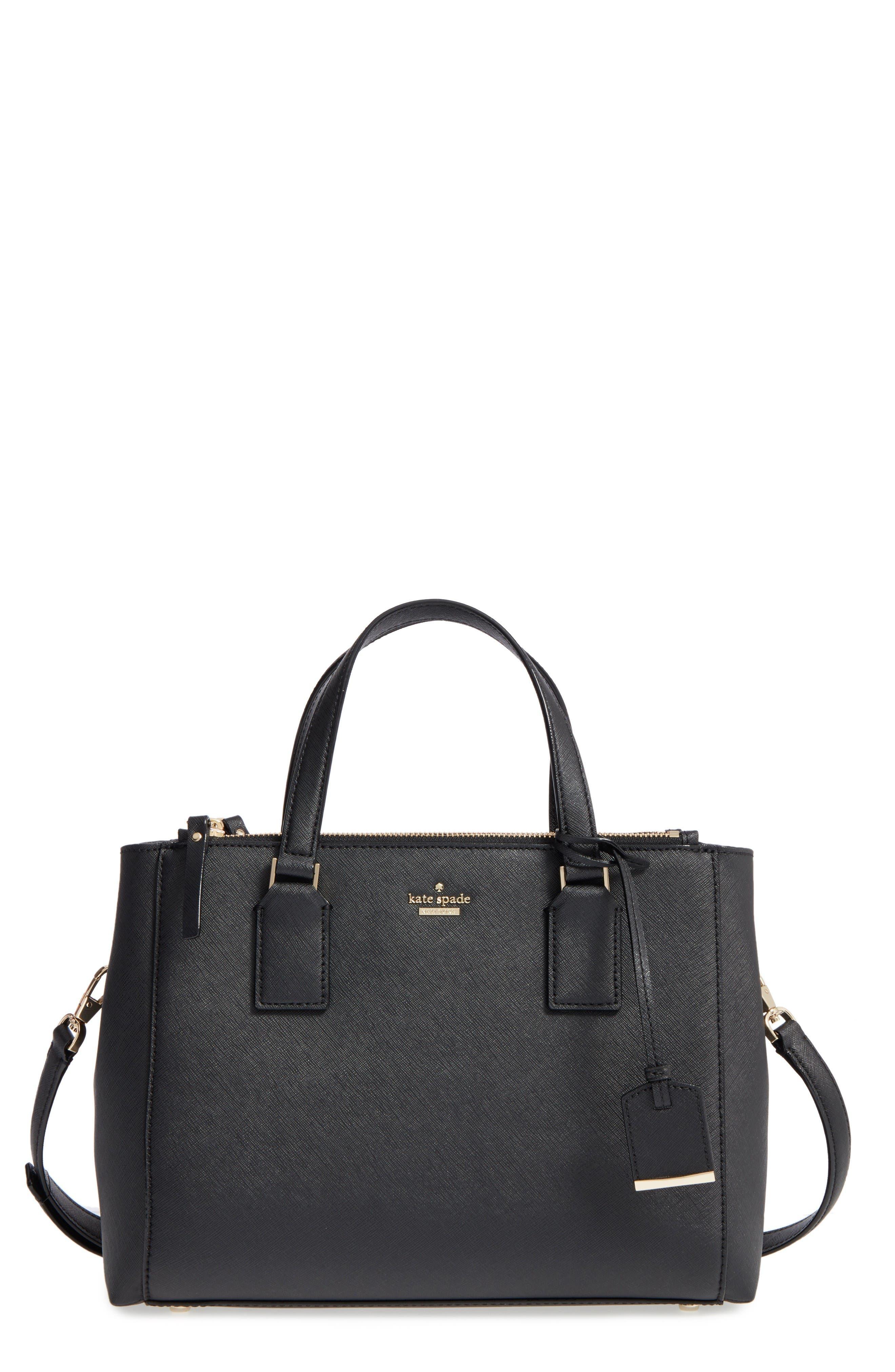 cameron street - teegan calfskin leather satchel,                             Main thumbnail 1, color,                             Black