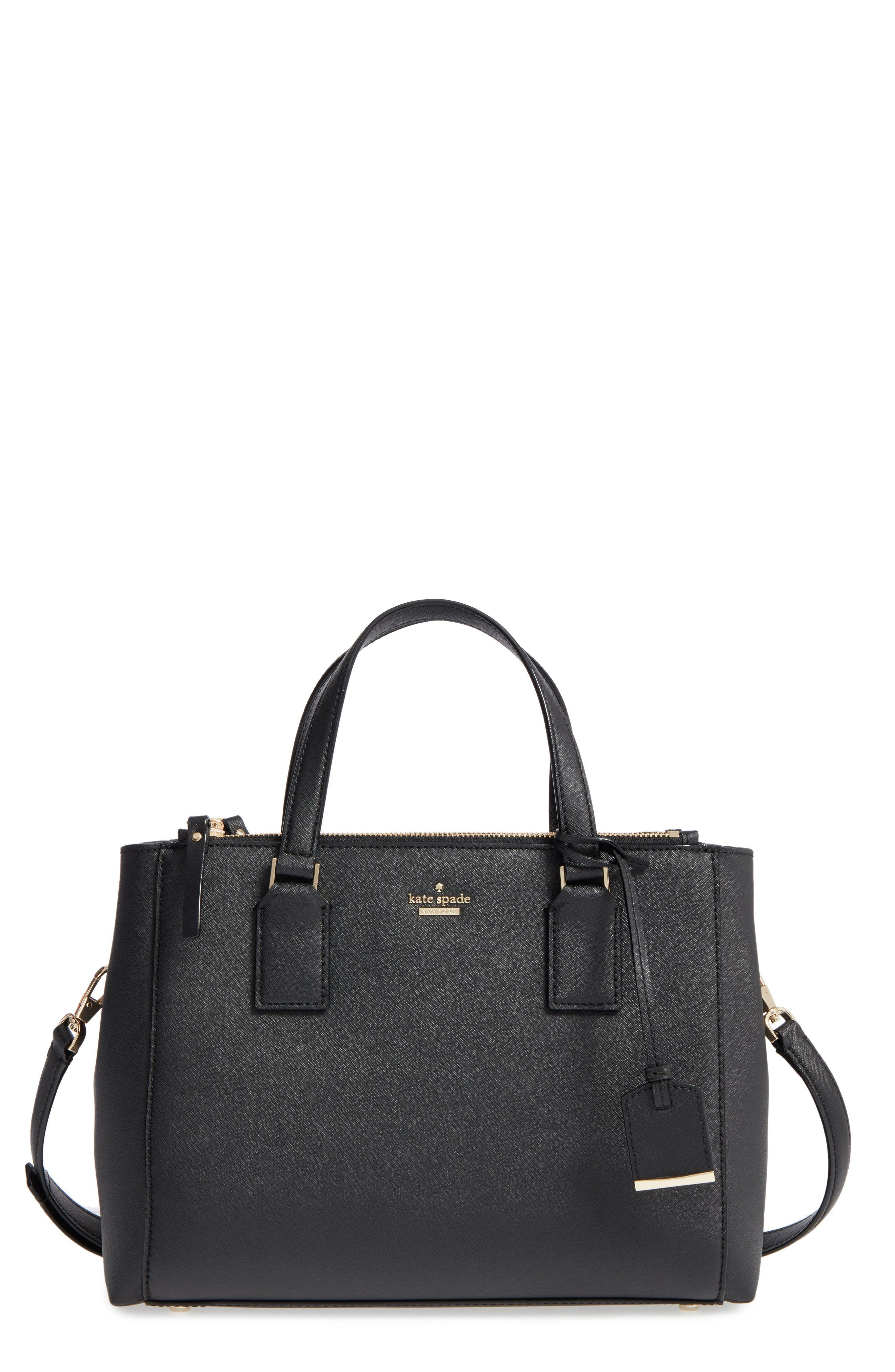 cameron street - teegan calfskin leather satchel,                         Main,                         color, Black