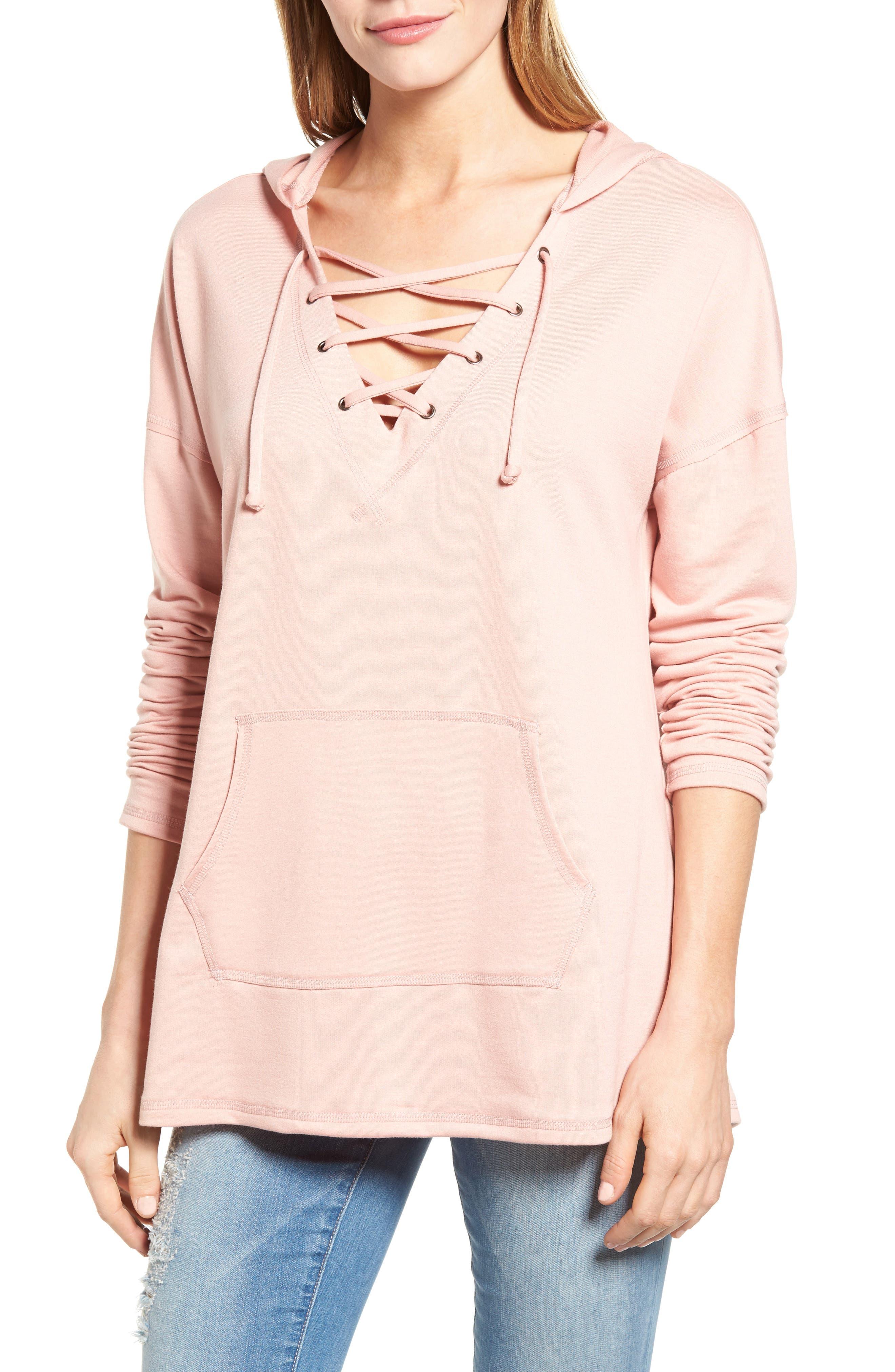 Main Image - Caslon® Lace-Up Hooded Sweatshirt (Regular & Petite)