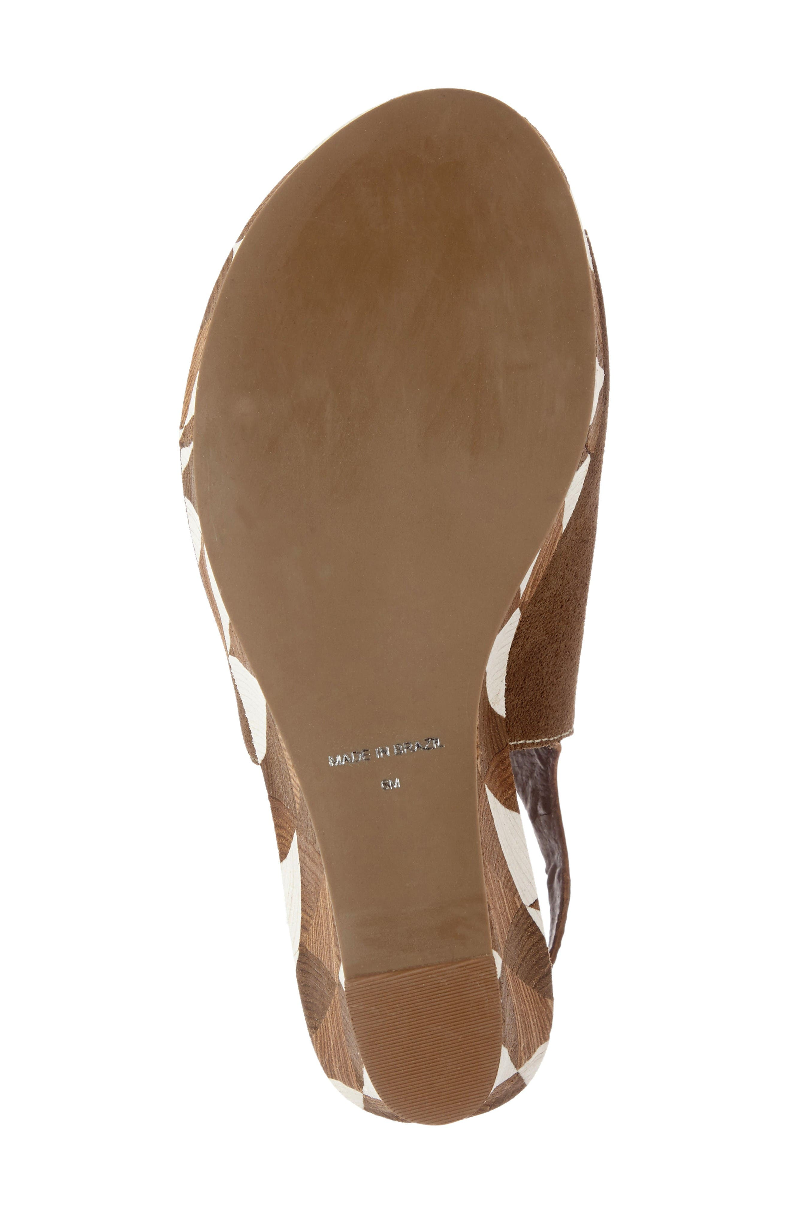 Harlequin Wedge Sandal,                             Alternate thumbnail 5, color,                             Taupe Leather