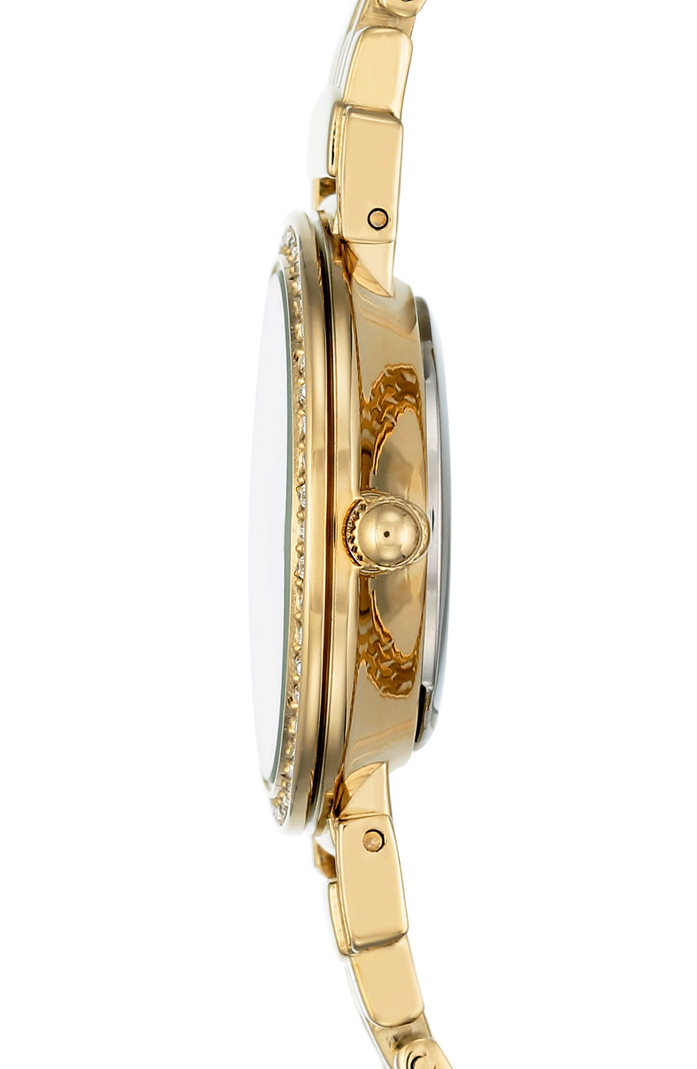 Crystal Watch & Tassel Bracelet Set,                             Alternate thumbnail 3, color,                             Gold