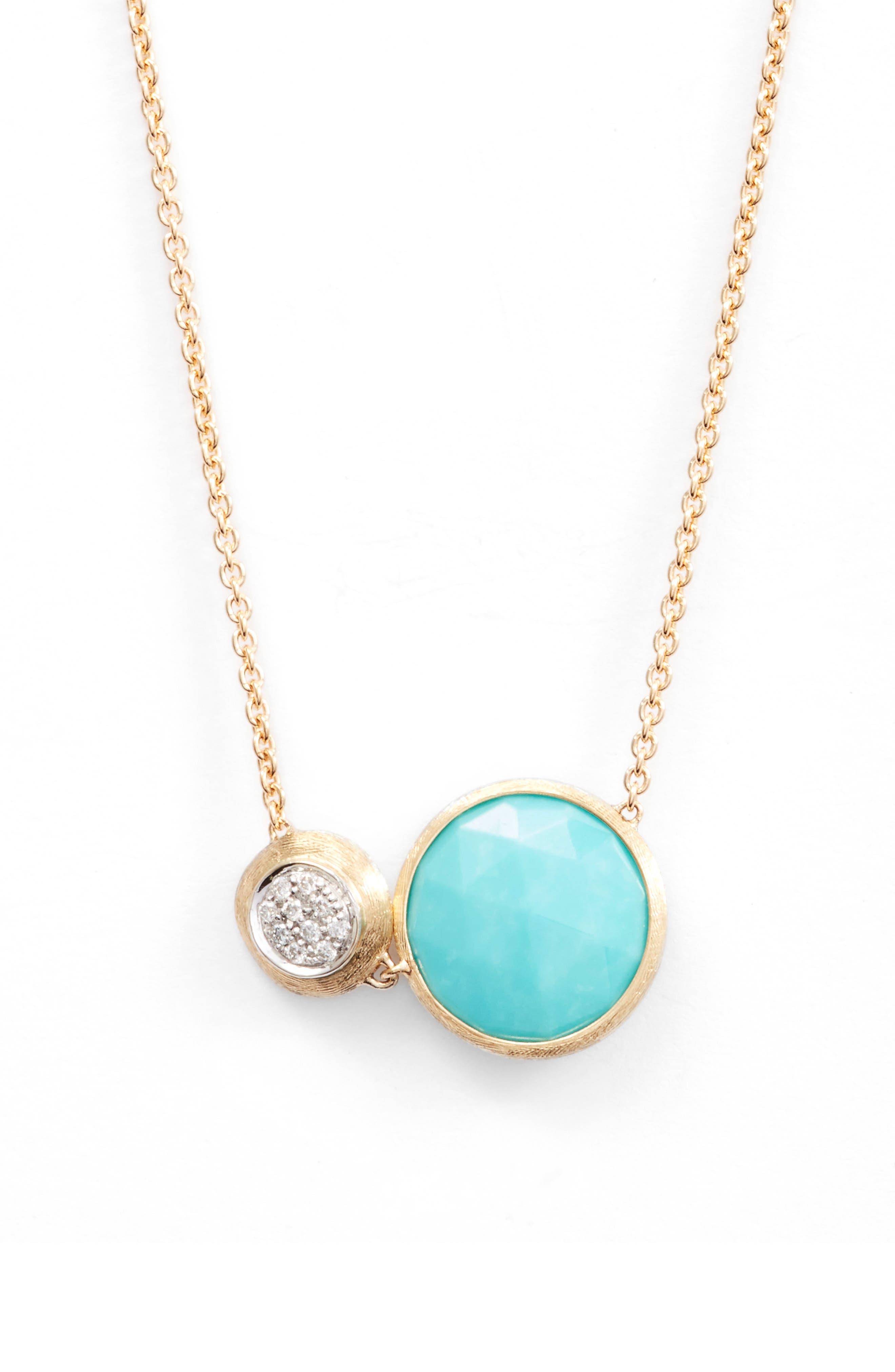 Main Image - Marco Bicego Jaipur Turquoise & Diamond Pendant Necklace