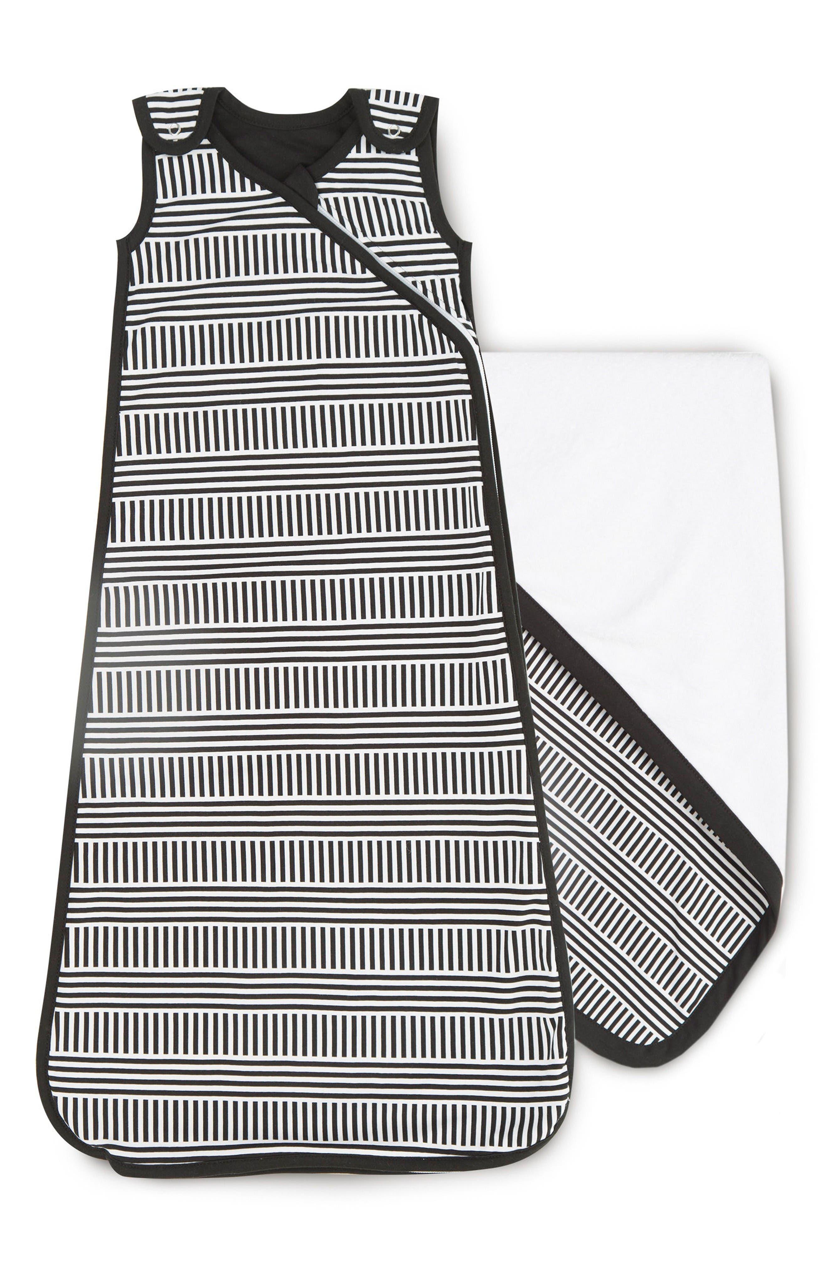 Cuddle Blanket & Wearable Blanket Set,                         Main,                         color, Black/ White