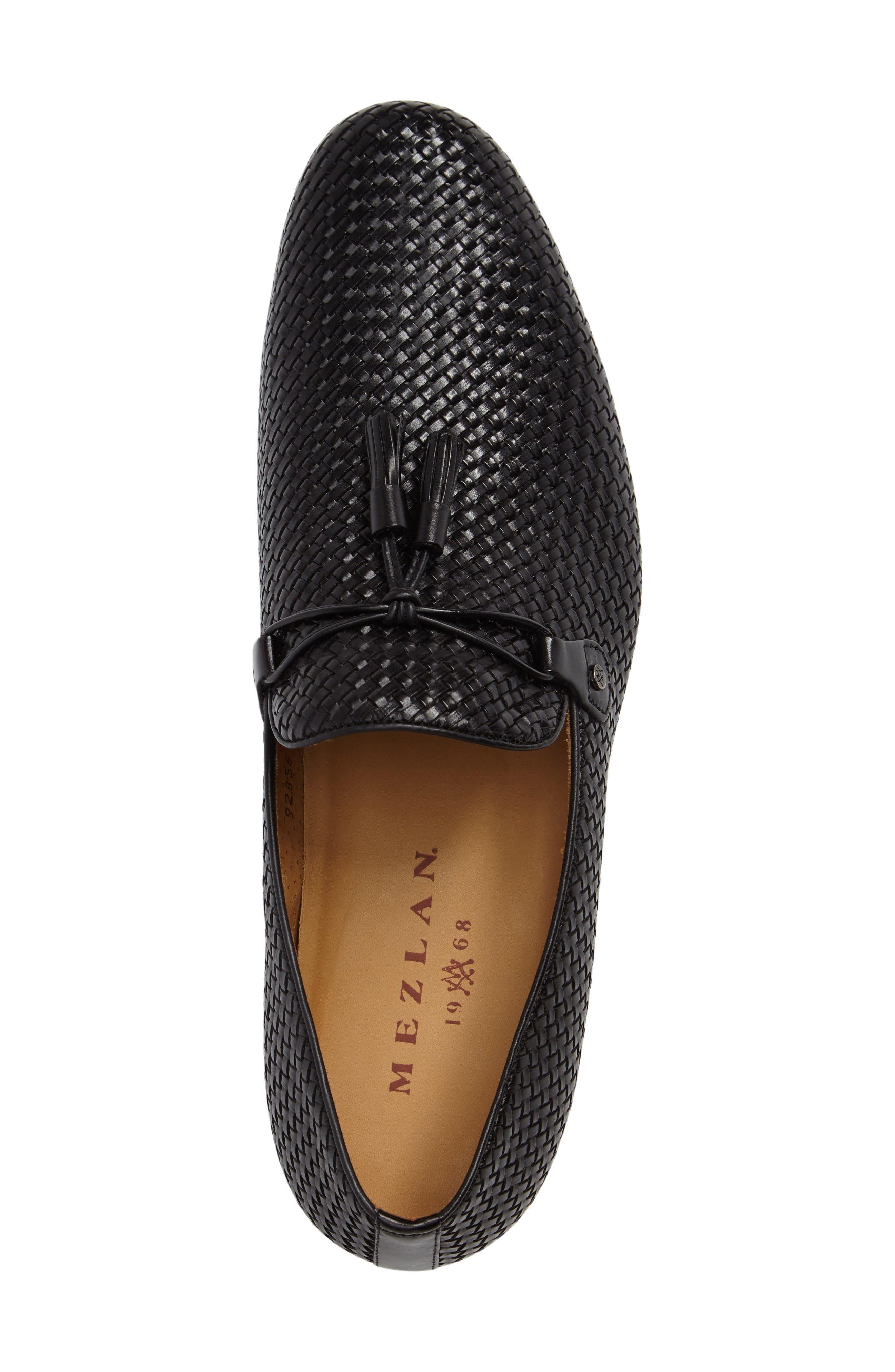 Turning Woven Tassel Loafer,                             Alternate thumbnail 5, color,                             Black Leather