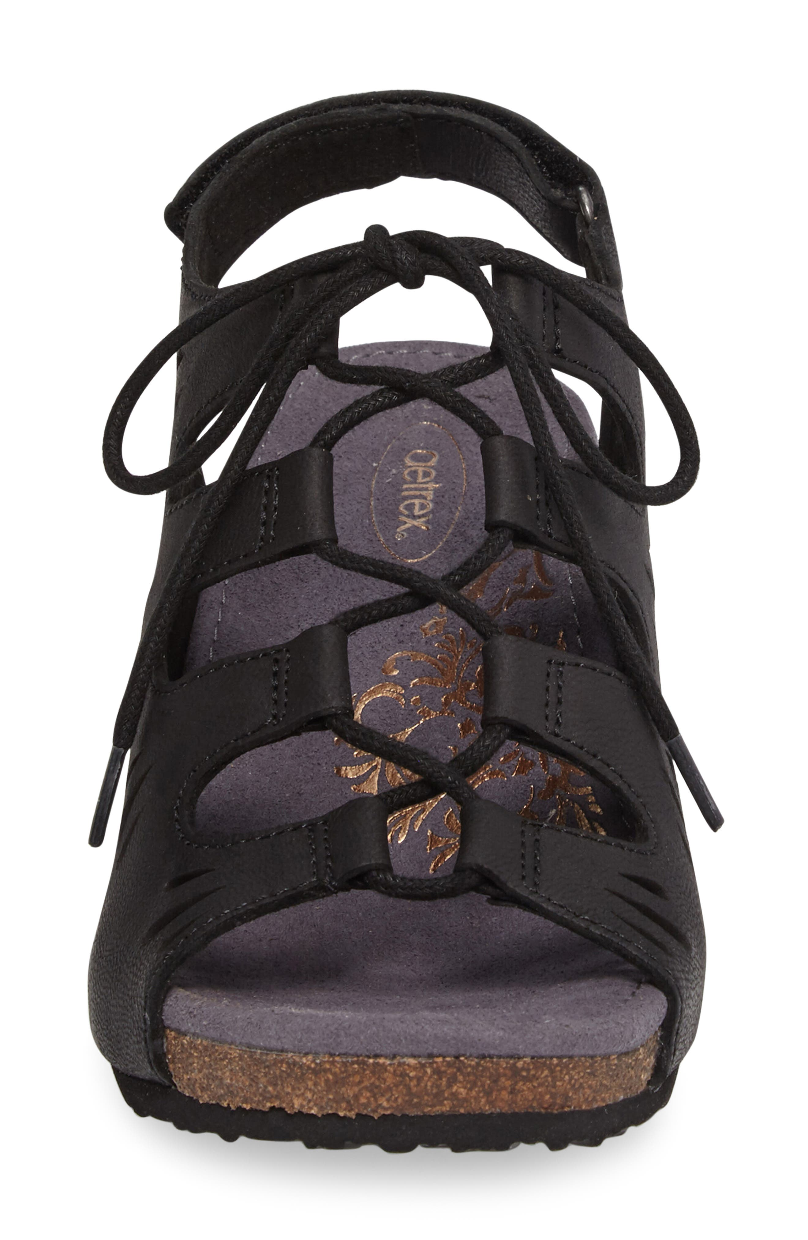 Giselle Slingback Wedge Sandal,                             Alternate thumbnail 4, color,                             Black Leather