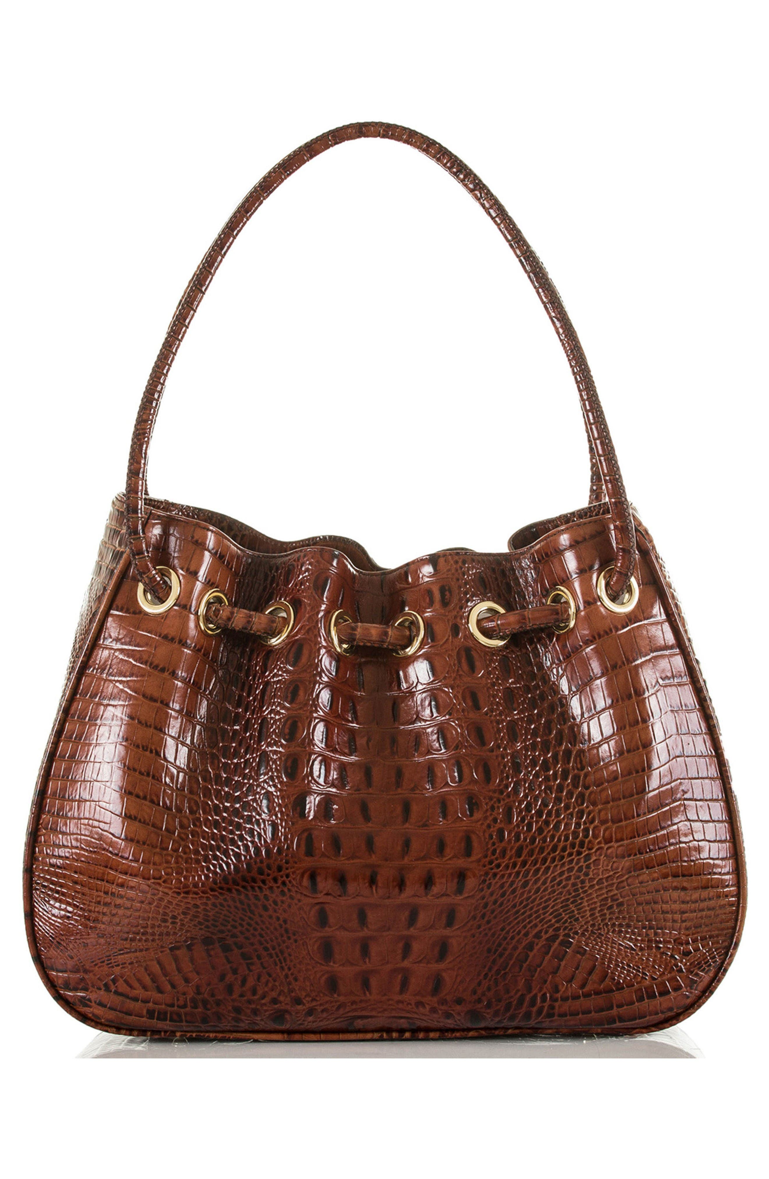 Amy Embossed Leather Drawstring Bucket Bag,                             Alternate thumbnail 2, color,                             Pecan