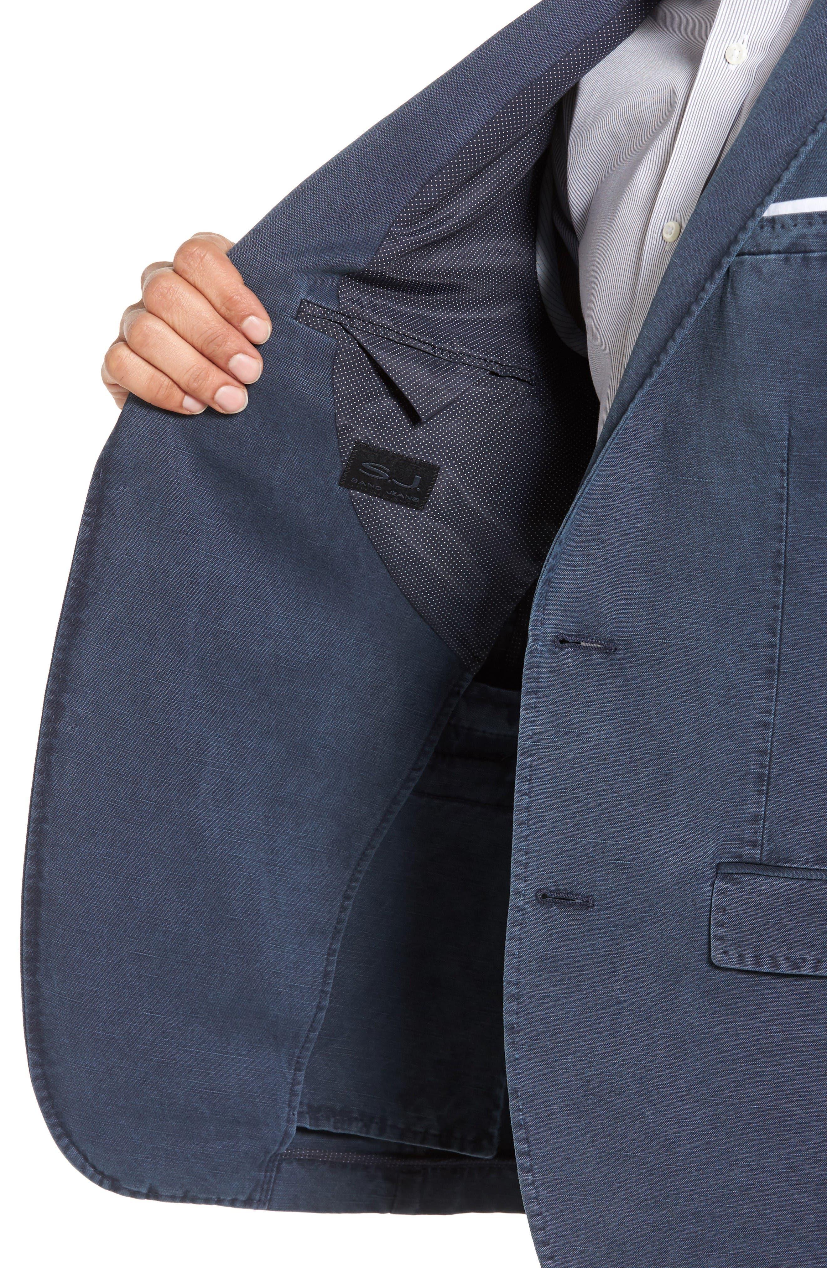 Trim Fit Cotton & Linen Blazer,                             Alternate thumbnail 4, color,                             Navy