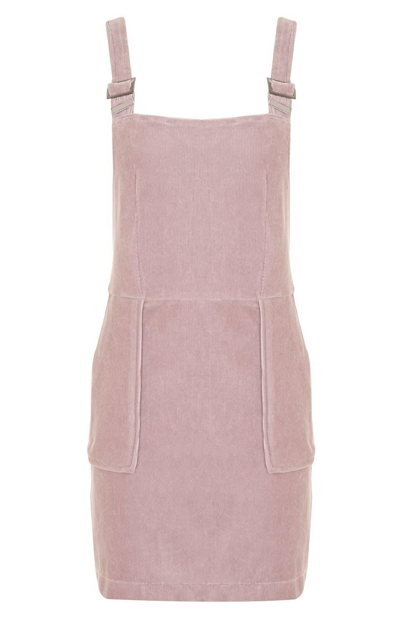 Alternate Image 4  - Topshop Velvet Corduroy Pinafore Dress (Petite)