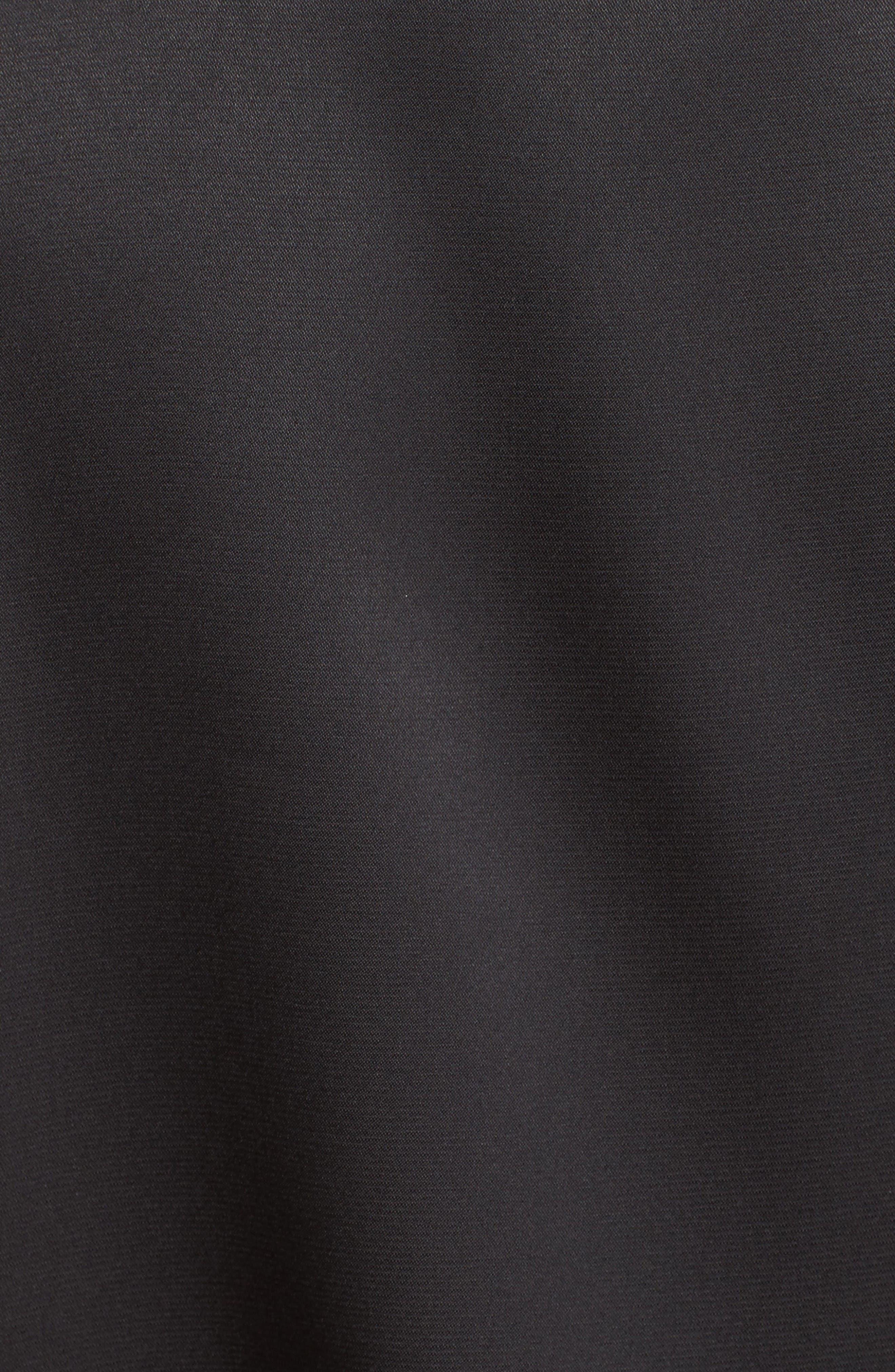 Satin Bomber Jacket,                             Alternate thumbnail 6, color,                             Black