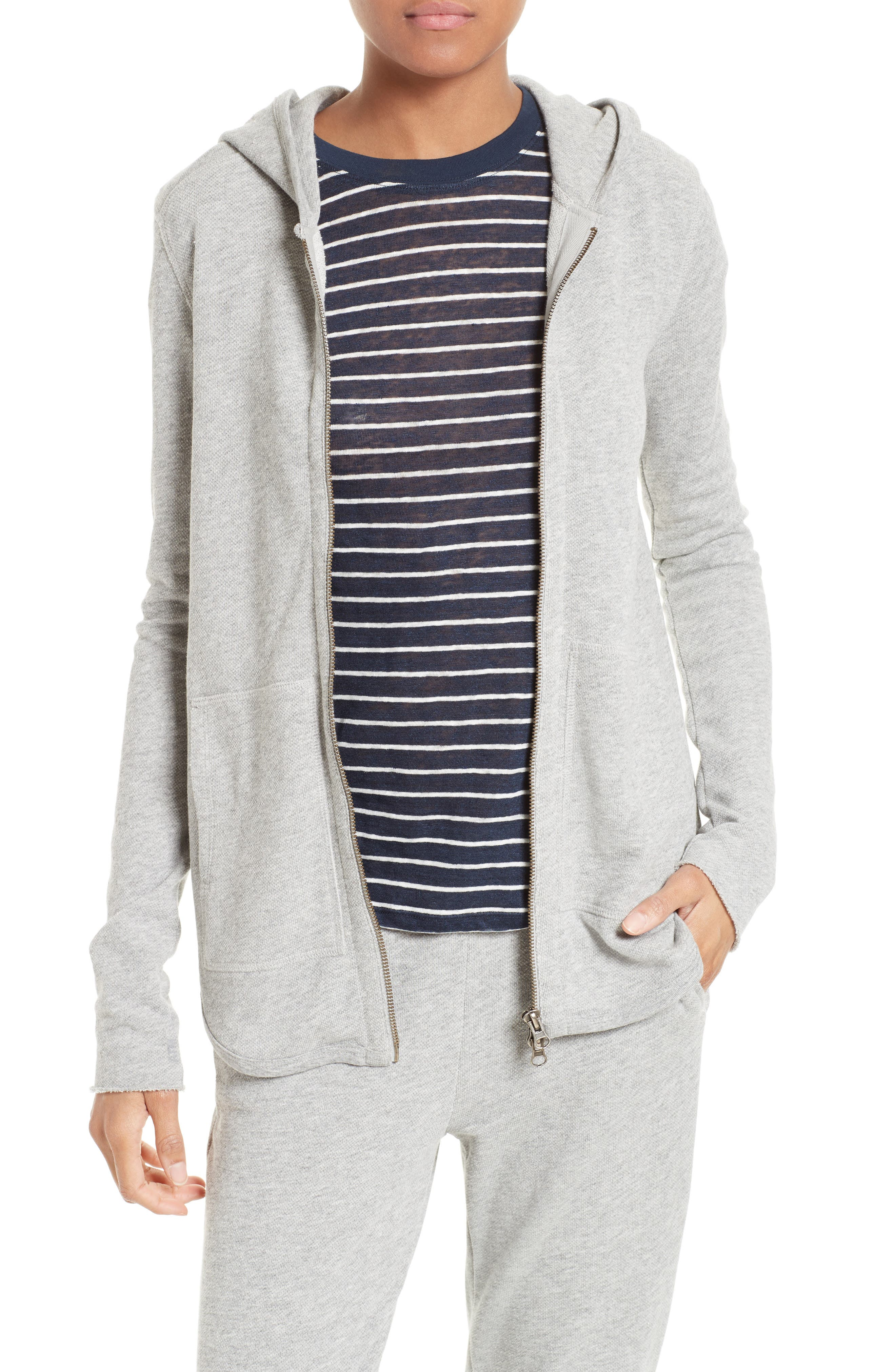 French Terry Zip Hoodie,                         Main,                         color, Heather Grey