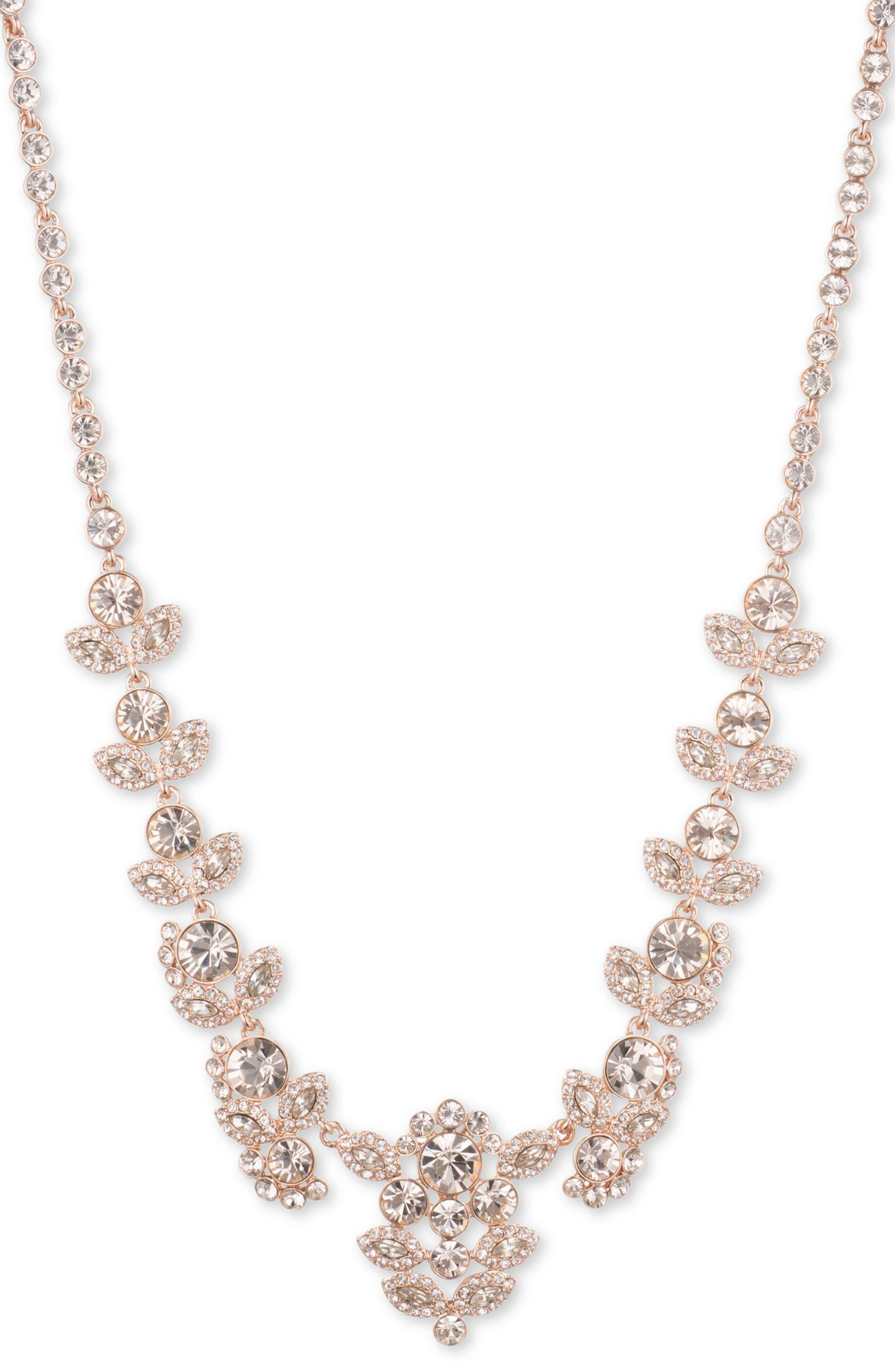 Crystal Collar Necklace,                         Main,                         color, Rose Gold / Silk