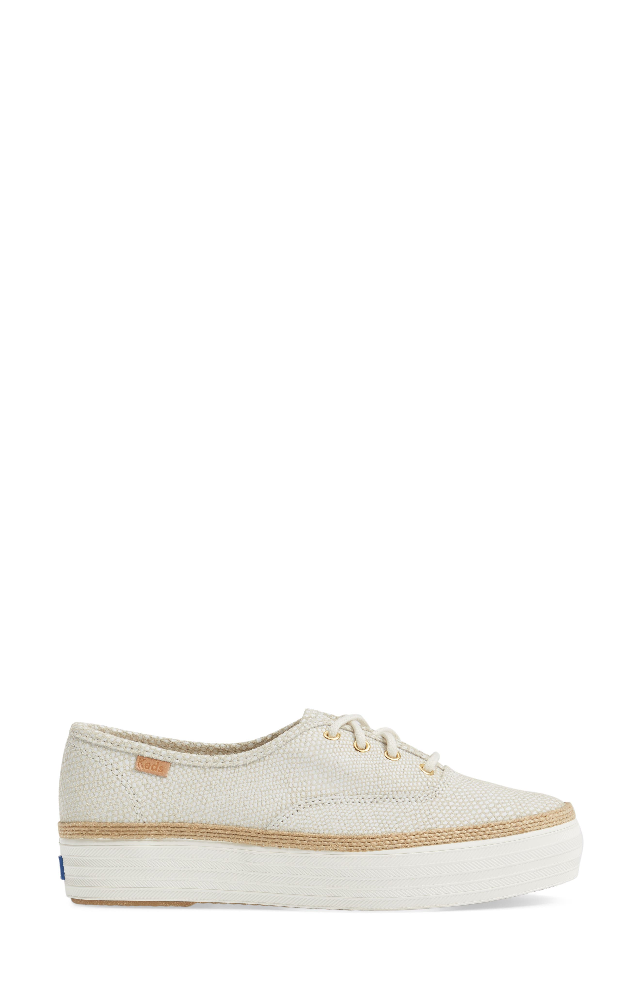 Triple Deck Platform Sneaker,                             Alternate thumbnail 3, color,                             Cream
