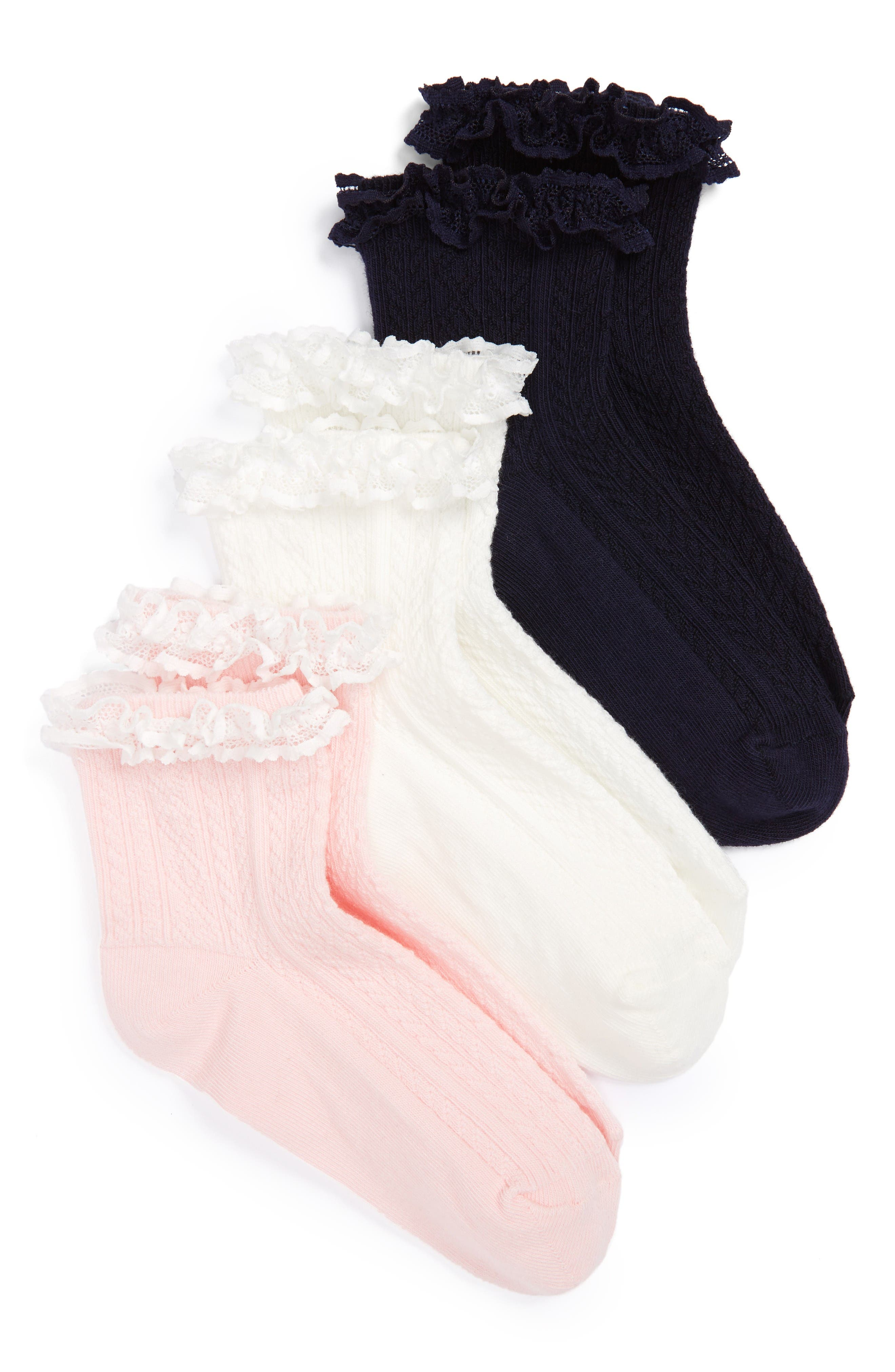 Main Image - Ruby & Bloom Short & Sweet 3-Pack Ankle Socks (Walker, Toddler, Little Kid & Big Kid)