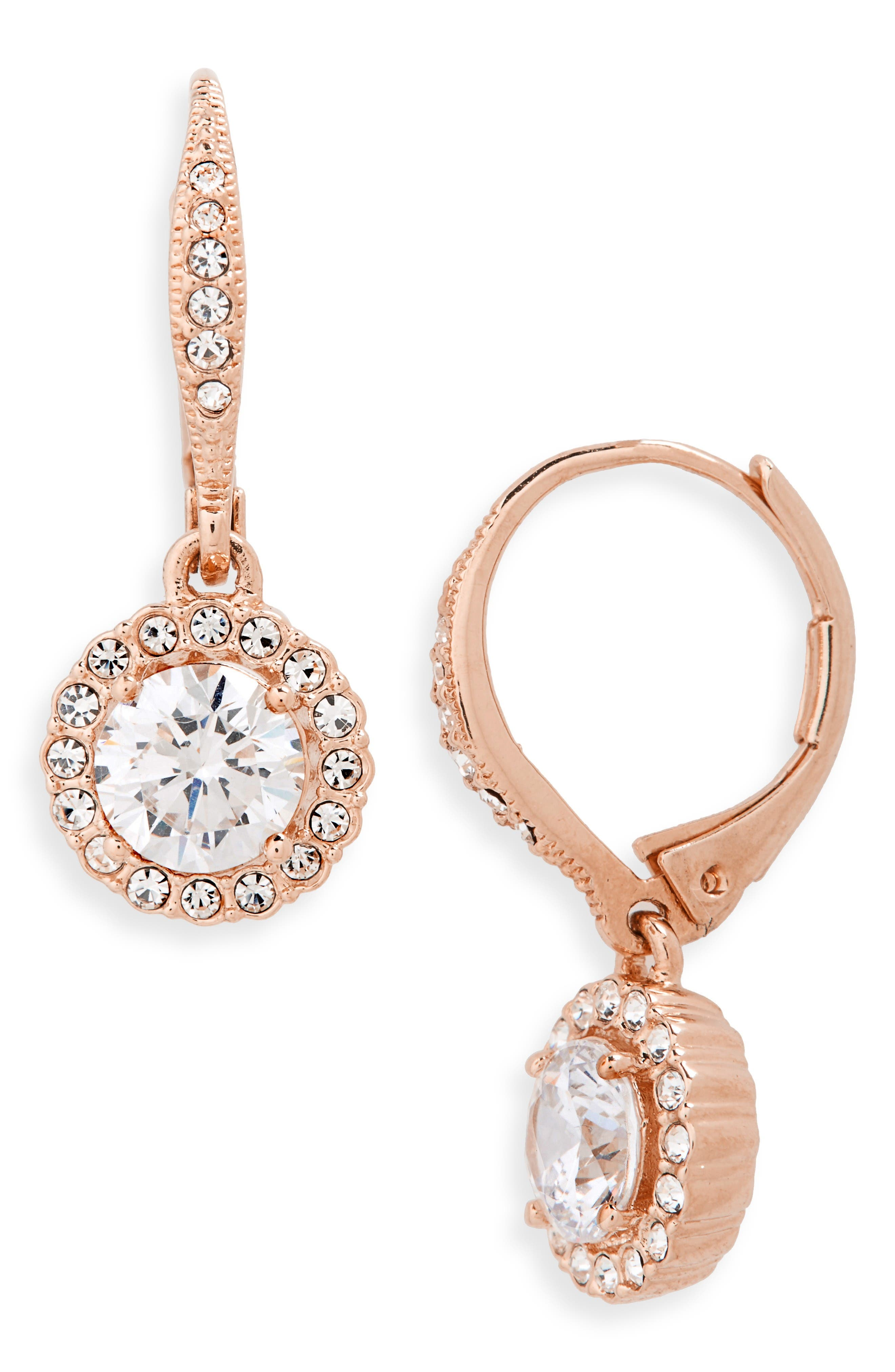 Cubic Zirconia Drop Earrings,                             Main thumbnail 1, color,                             Rose Gold/ Clear Crystal