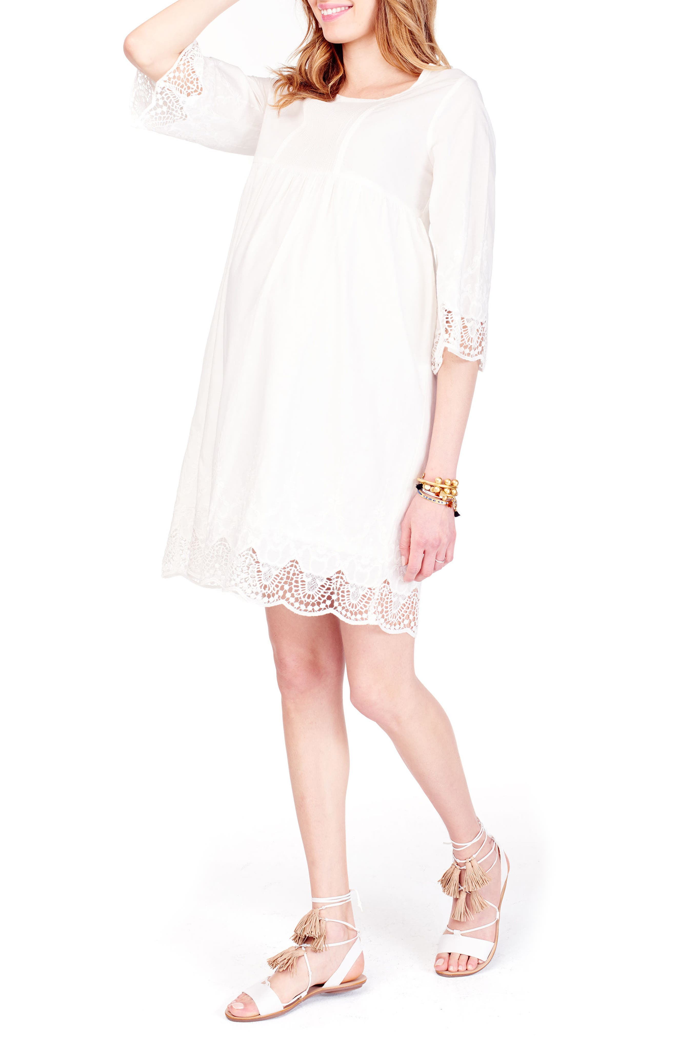 Alternate Image 4  - Ingrid & Isabel® Lace Trim Maternity Dress