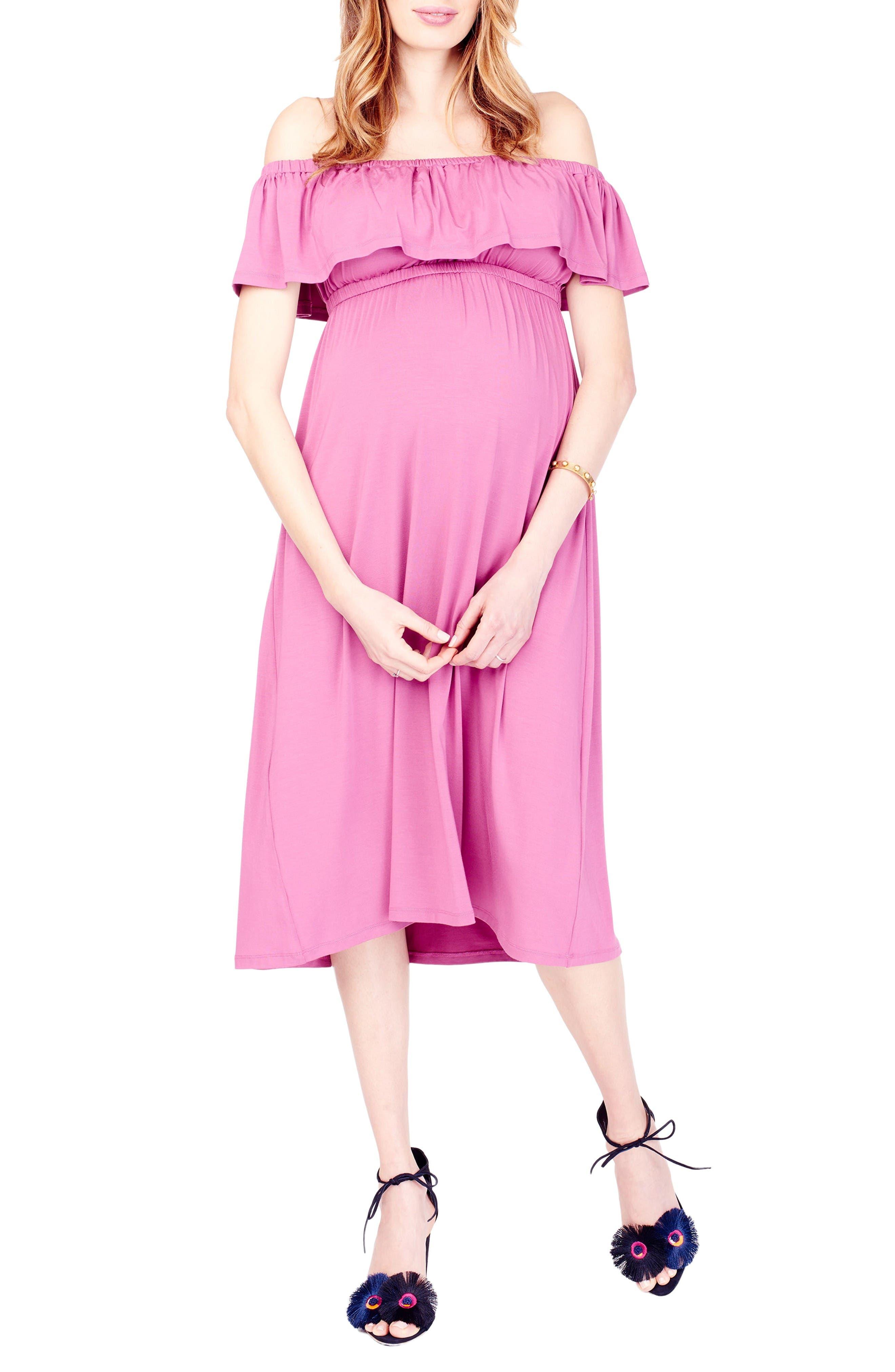 Off the Shoulder Maternity Midi Dress,                         Main,                         color, Hibiscus