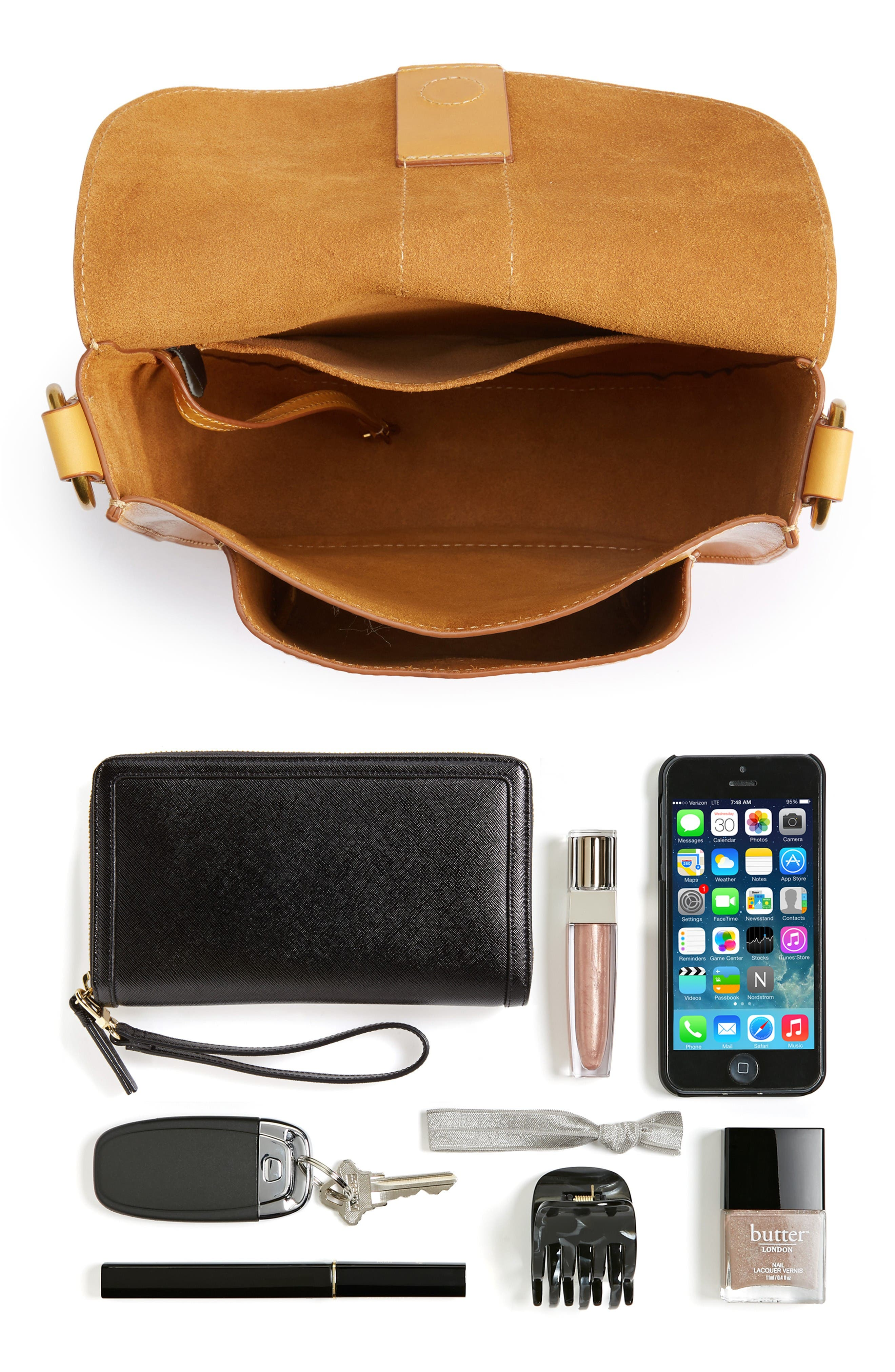 Ilana Leather Saddle Bag,                             Alternate thumbnail 7, color,