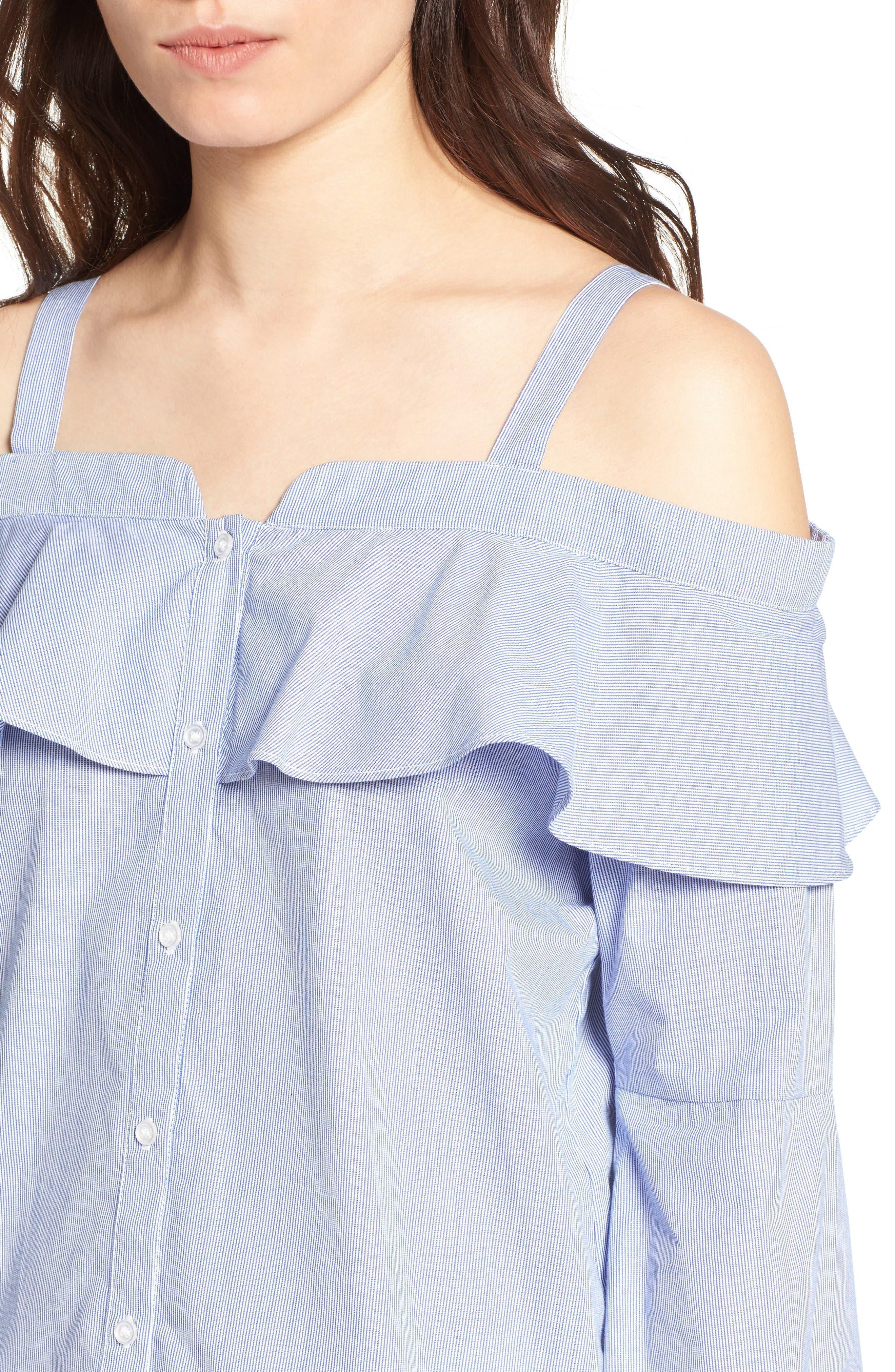 Cold Shoulder Ruffle Blouse,                             Alternate thumbnail 4, color,                             Blue- White Stripe