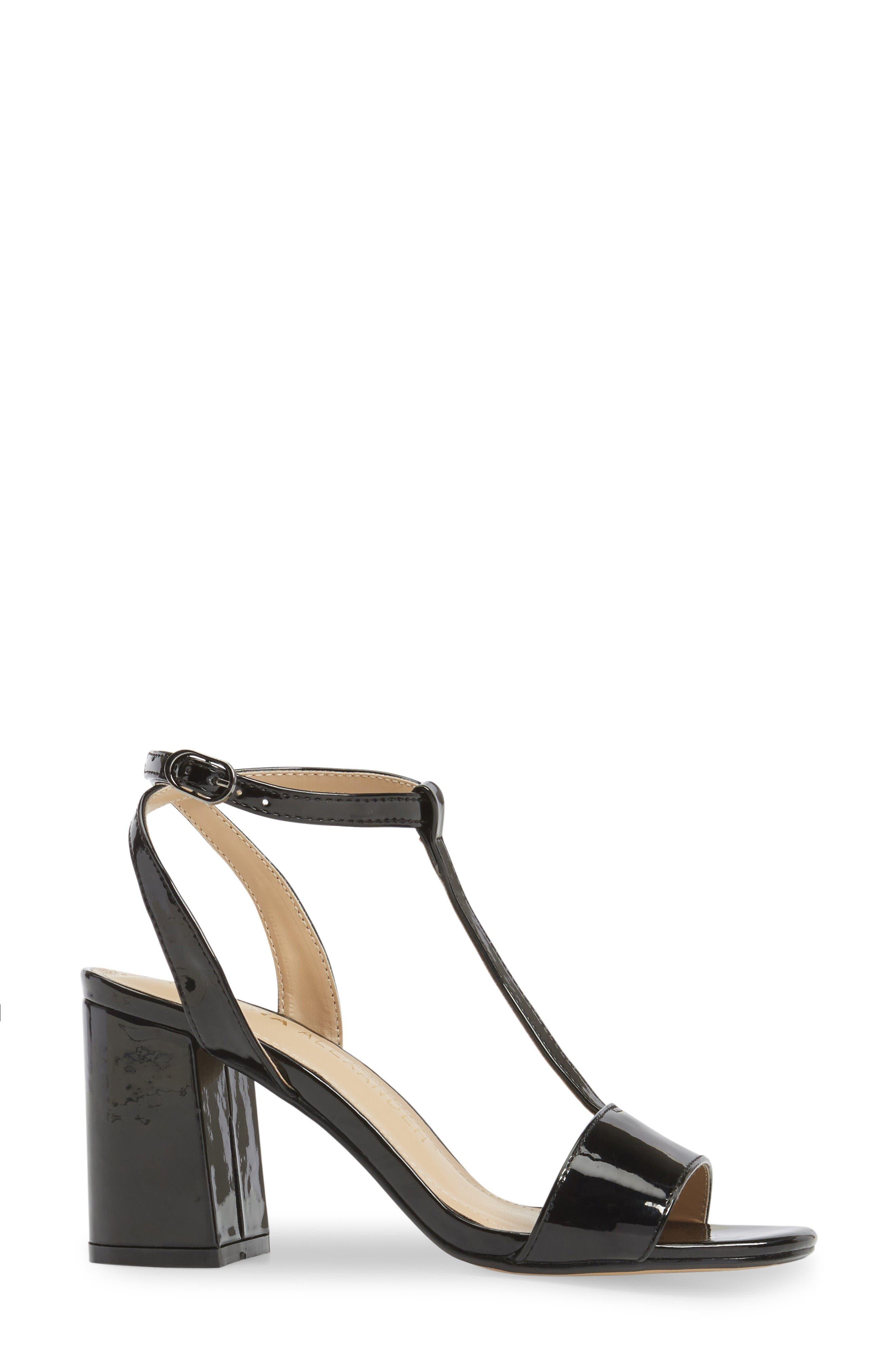 Ditaa T-Strap Sandal,                             Alternate thumbnail 3, color,                             Black Faux Patent