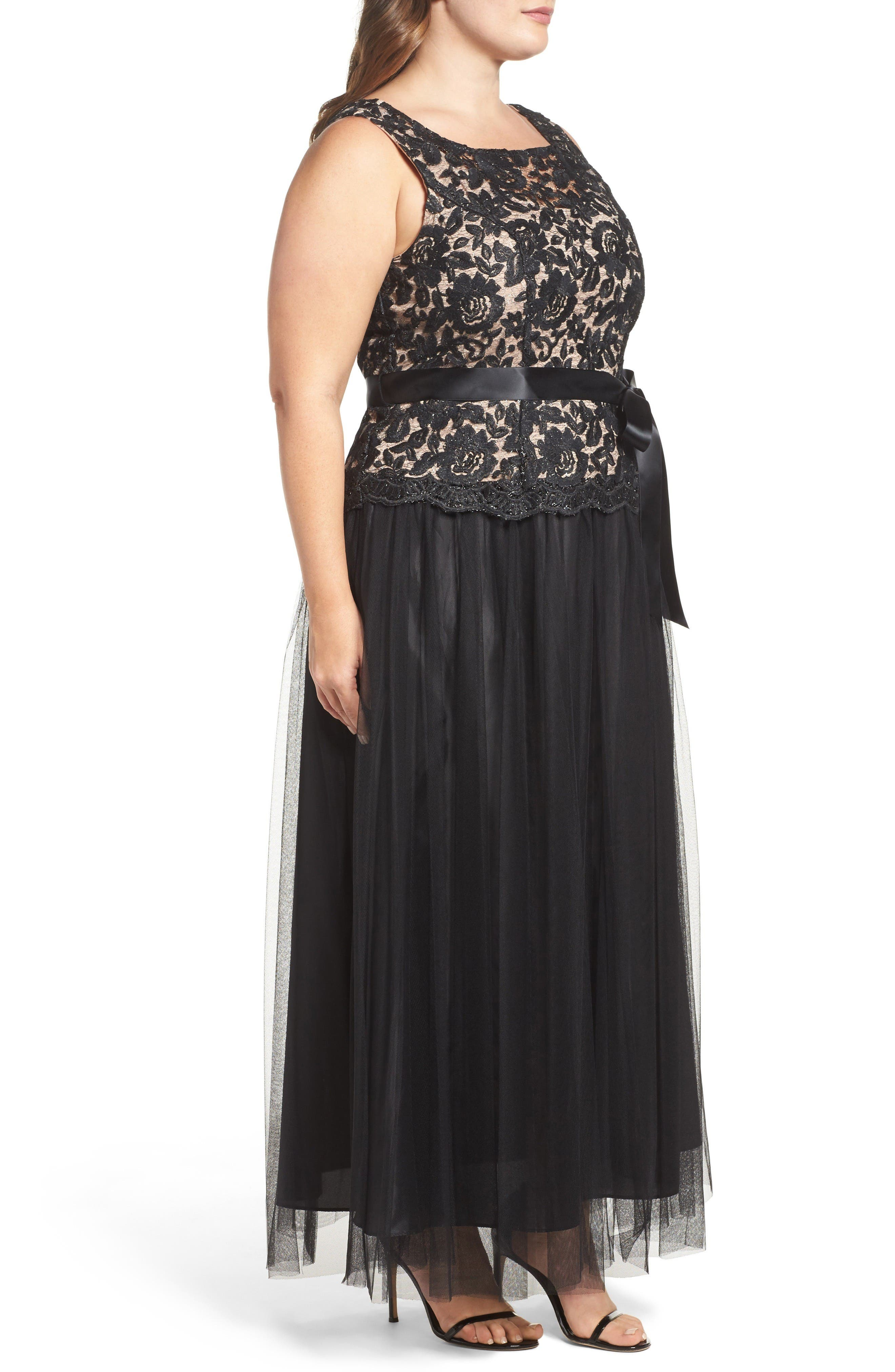 Alternate Image 3  - Marina Illusion Lace & Mesh Gown (Plus Size)