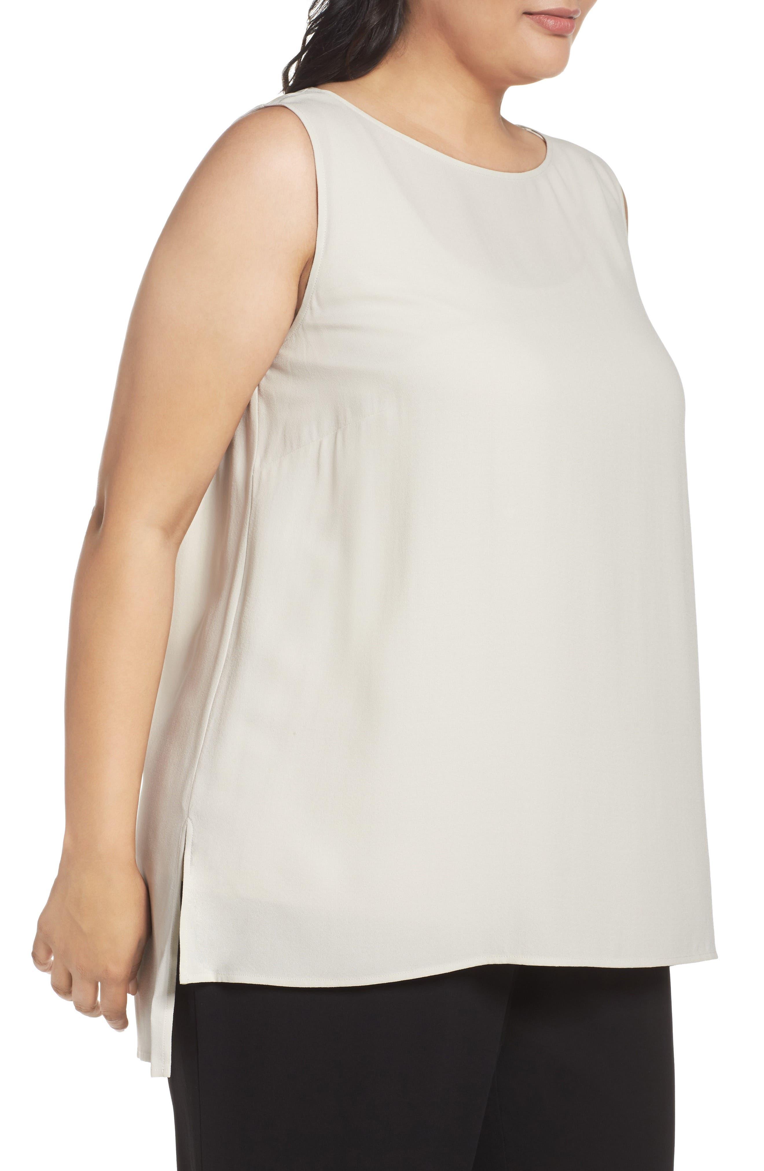 Alternate Image 3  - Eileen Fisher Silk Georgette Crepe Top (Plus Size)