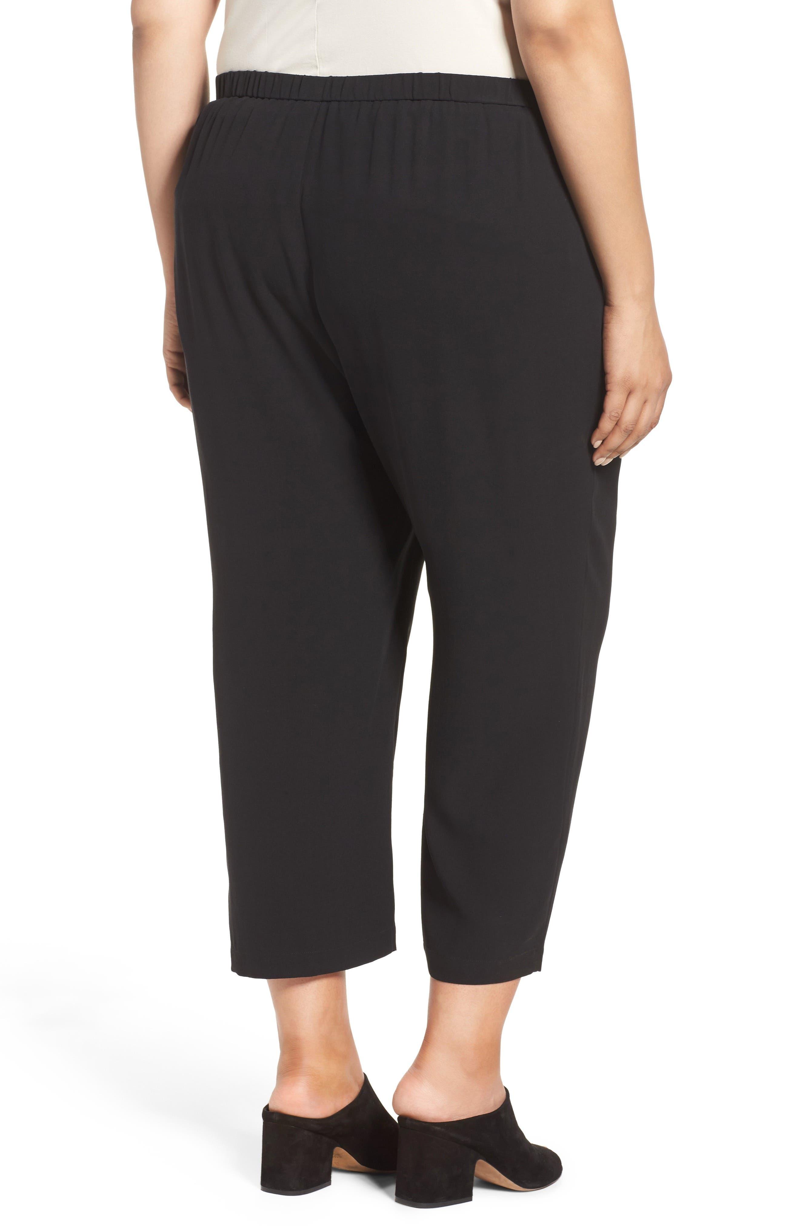 Silk Georgette Crop Pants,                             Alternate thumbnail 2, color,                             Black