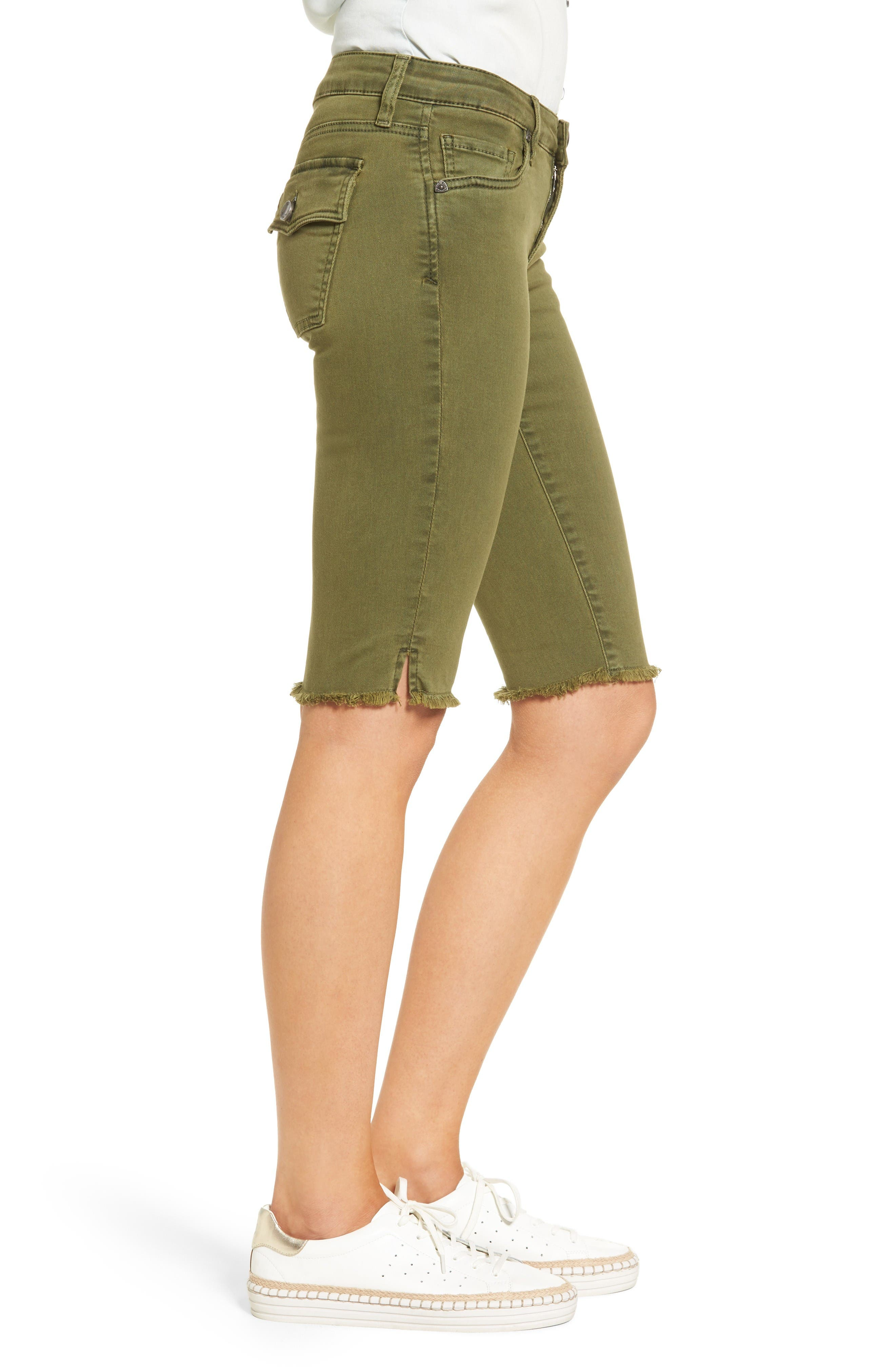 Natalie Frayed Hem Denim Bermuda Shorts,                             Alternate thumbnail 3, color,                             Olive