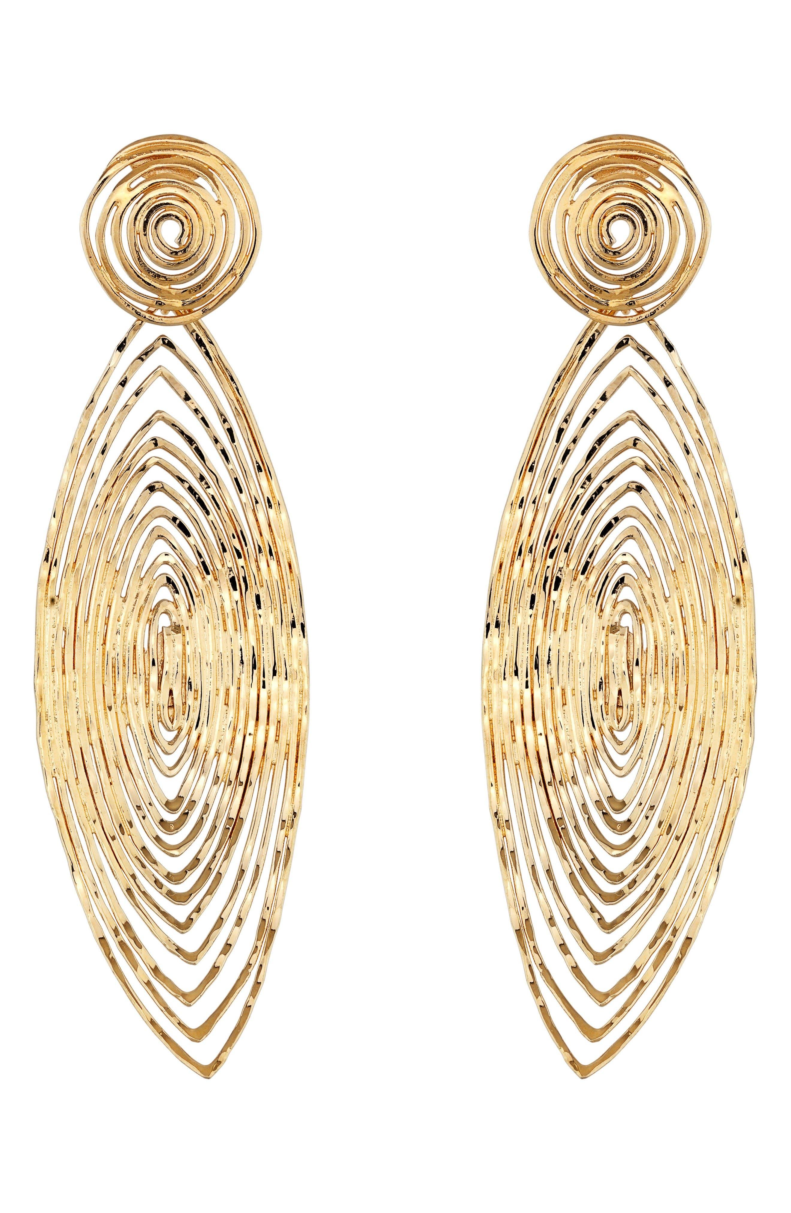 'Long Wave' Drop Earrings,                             Main thumbnail 1, color,                             Gold