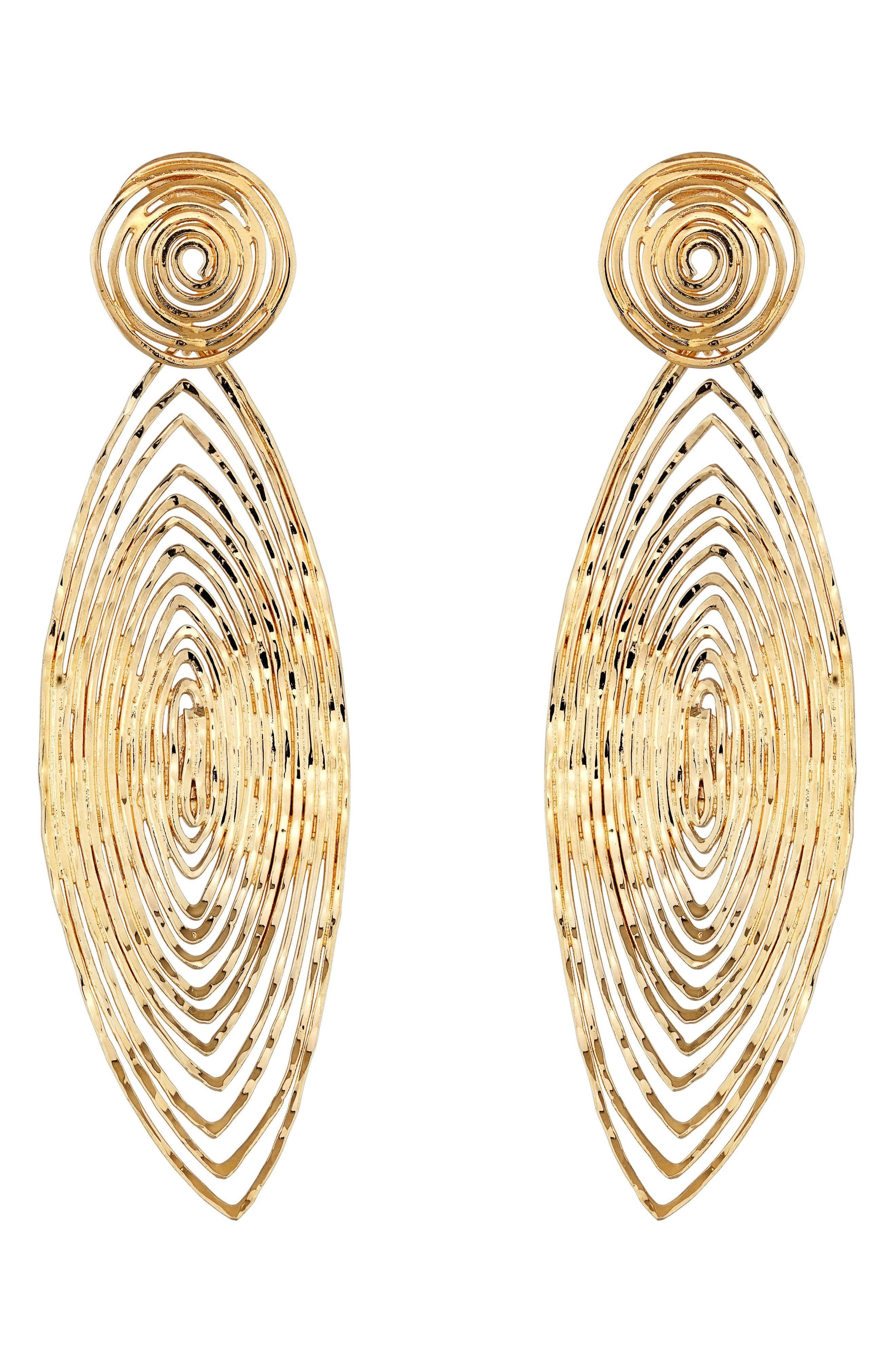 'Long Wave' Drop Earrings,                         Main,                         color, Gold