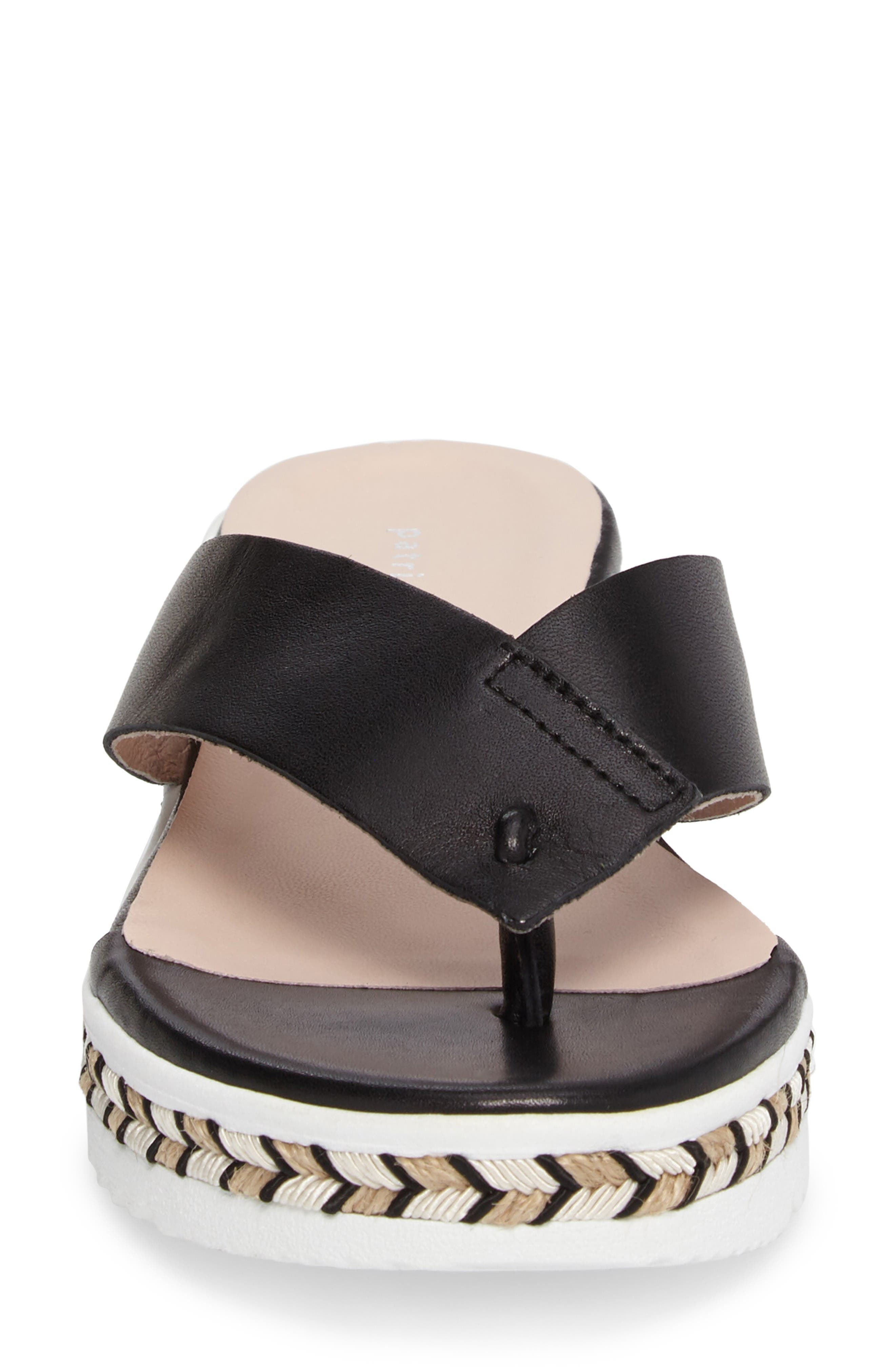 Brooklyn Wedge Flip Flop,                             Alternate thumbnail 4, color,                             Black Leather