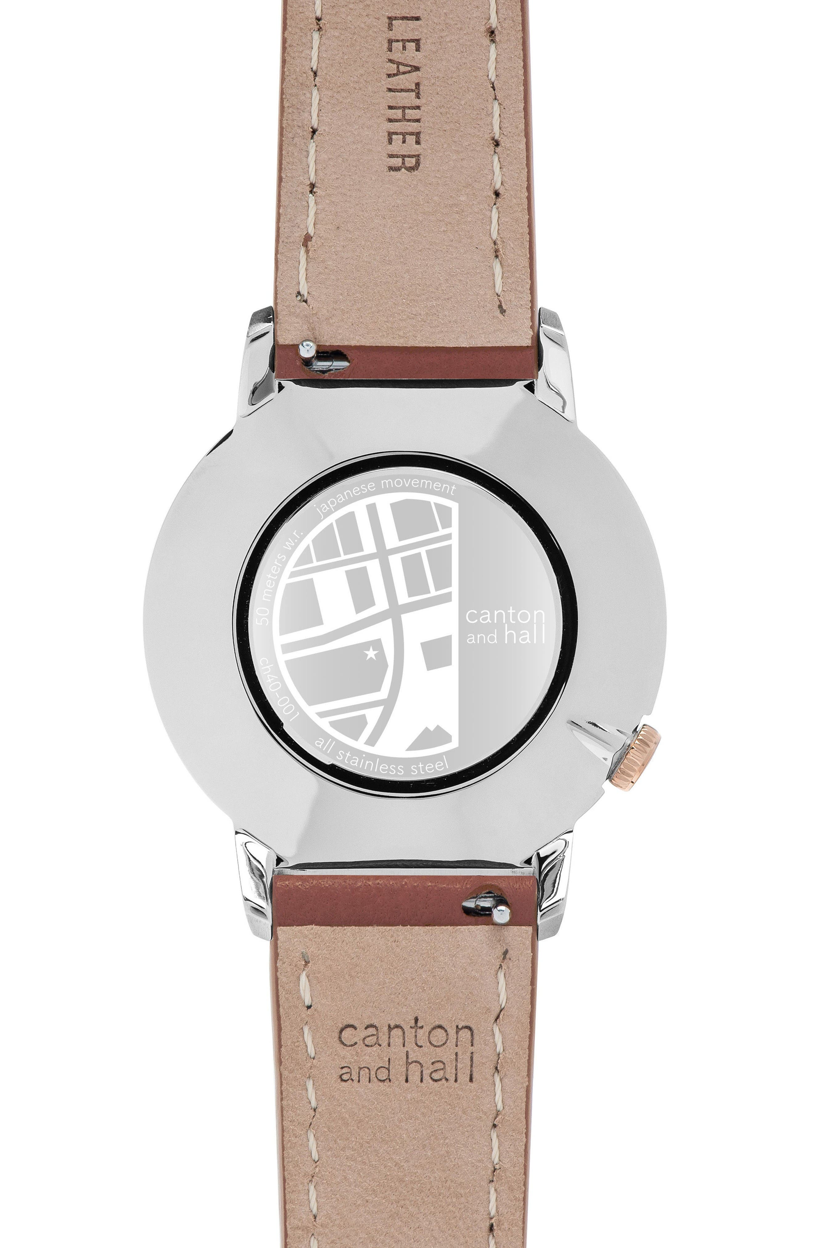 Leather Strap Watch, 40mm,                             Alternate thumbnail 3, color,                             Cream/ Brown