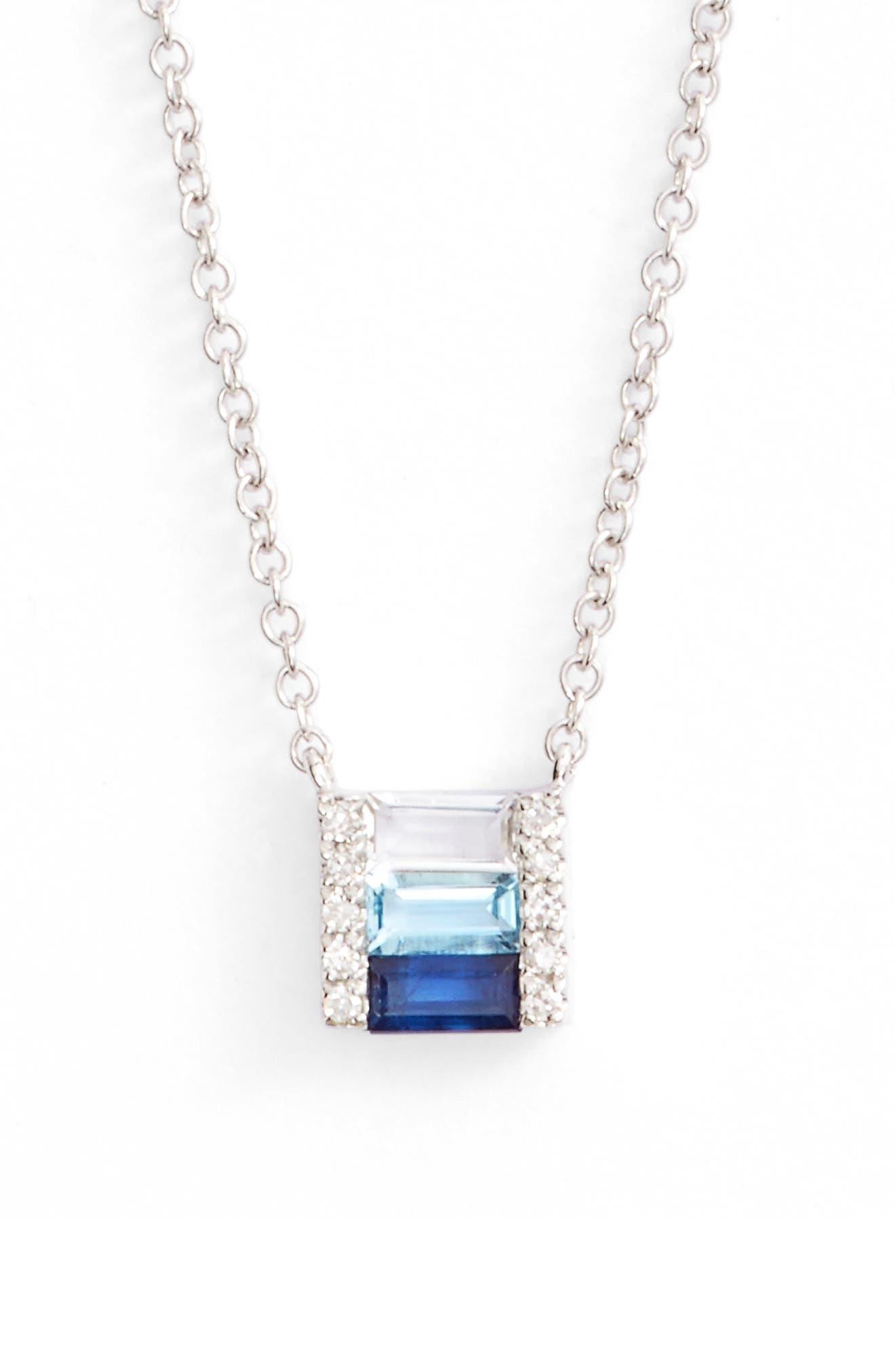 Fade Brick Diamond & Stone Pendant Necklace,                         Main,                         color, White Gold