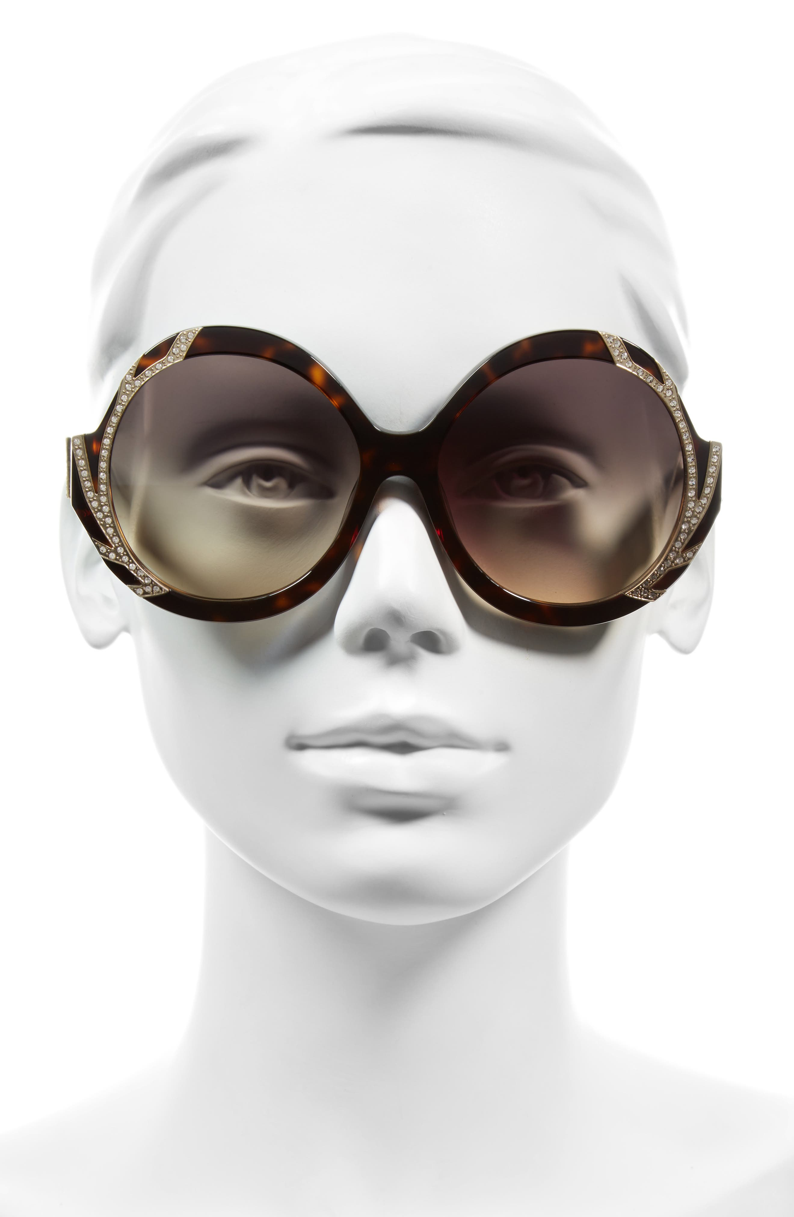 Alternate Image 2  - Alice + Olivia Stacey Crystal 59mm Gradient Lens Round Sunglasses