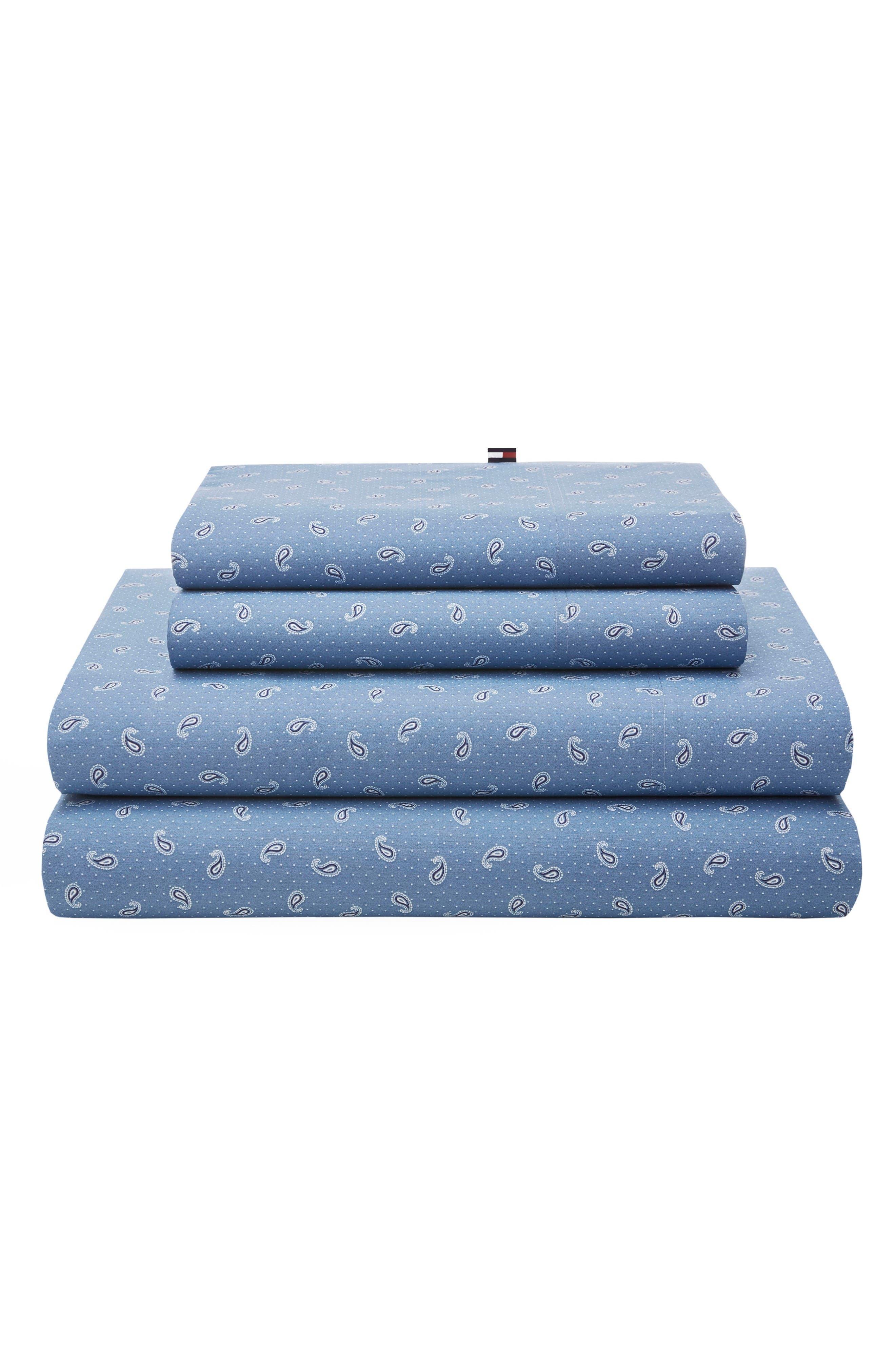 Tossed Paisley Sheet Set,                         Main,                         color, Blue