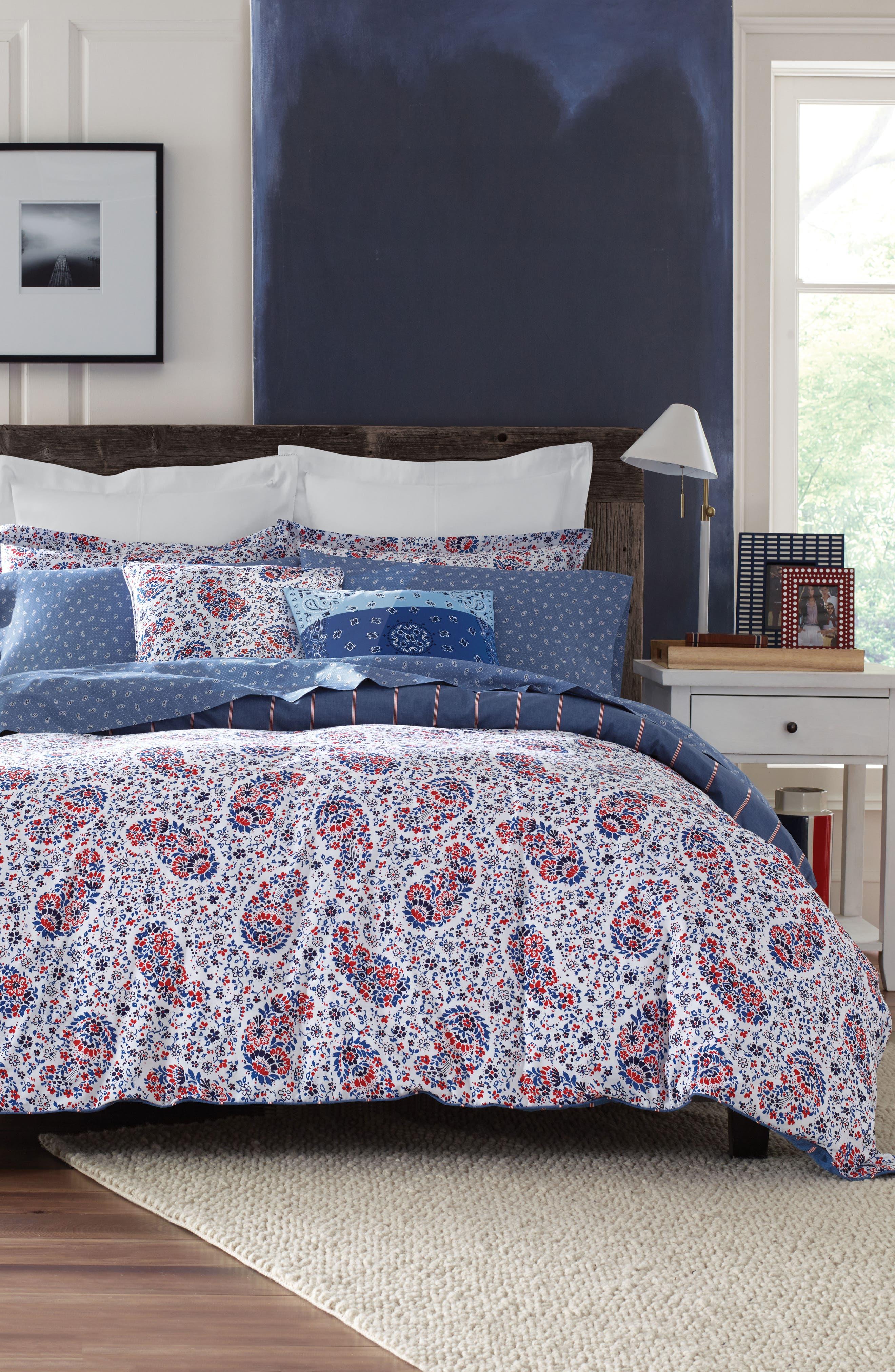 Tottenham Paisley Comforter & Sham Set,                         Main,                         color, Red/ Blue