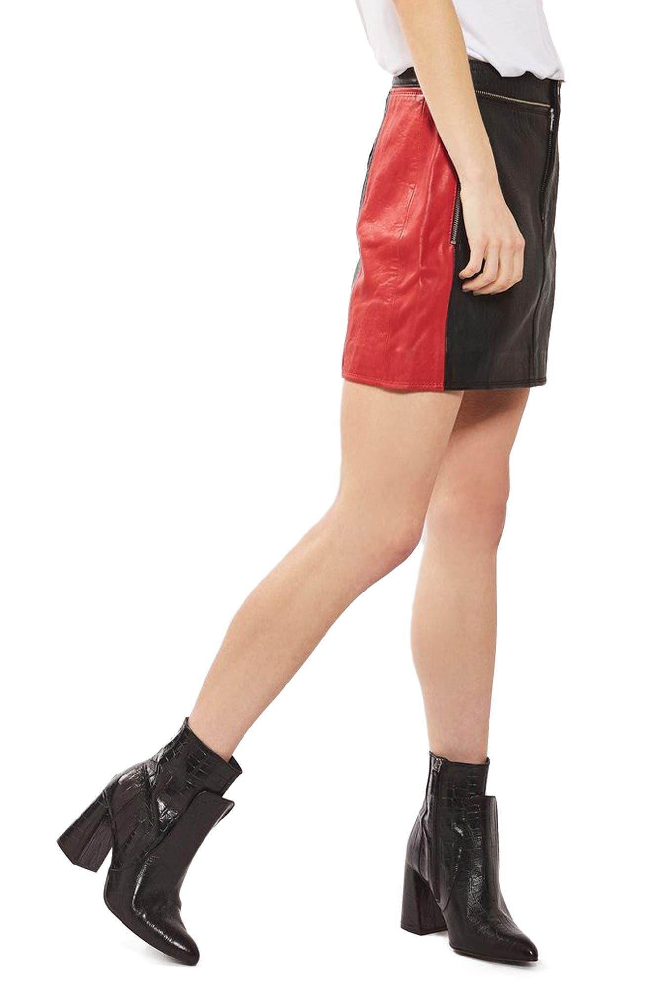 Alternate Image 4  - Topshop Colorblock Leather Skirt