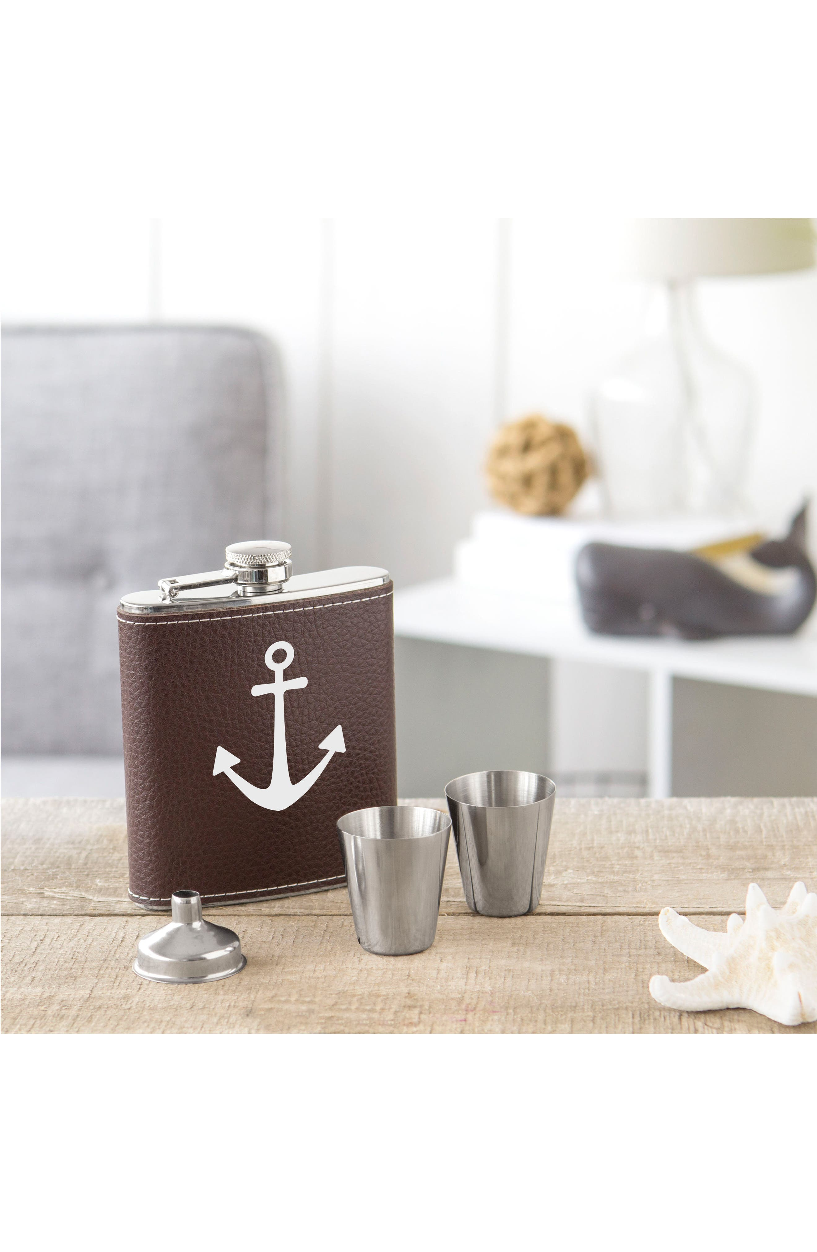 Leather Flask Set,                             Alternate thumbnail 4, color,                             Brown - Anchor