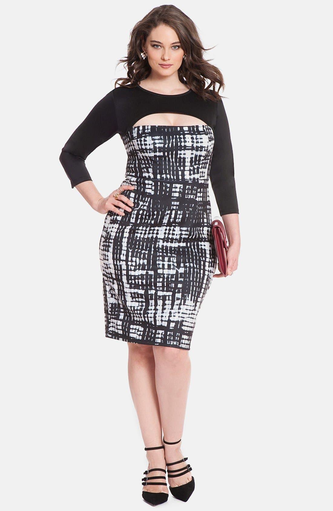 Alternate Image 3  - ELOQUII Print Block Cutout Dress (Plus Size)