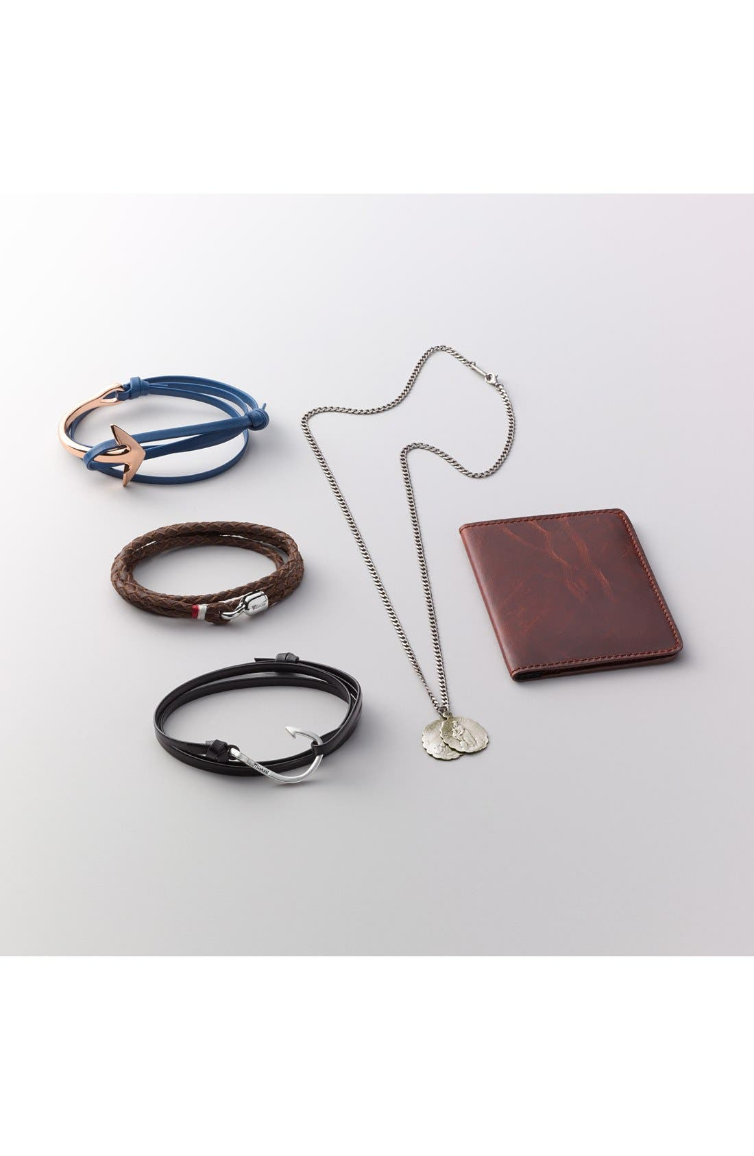 Silver Hook Leather Bracelet,                             Alternate thumbnail 3, color,