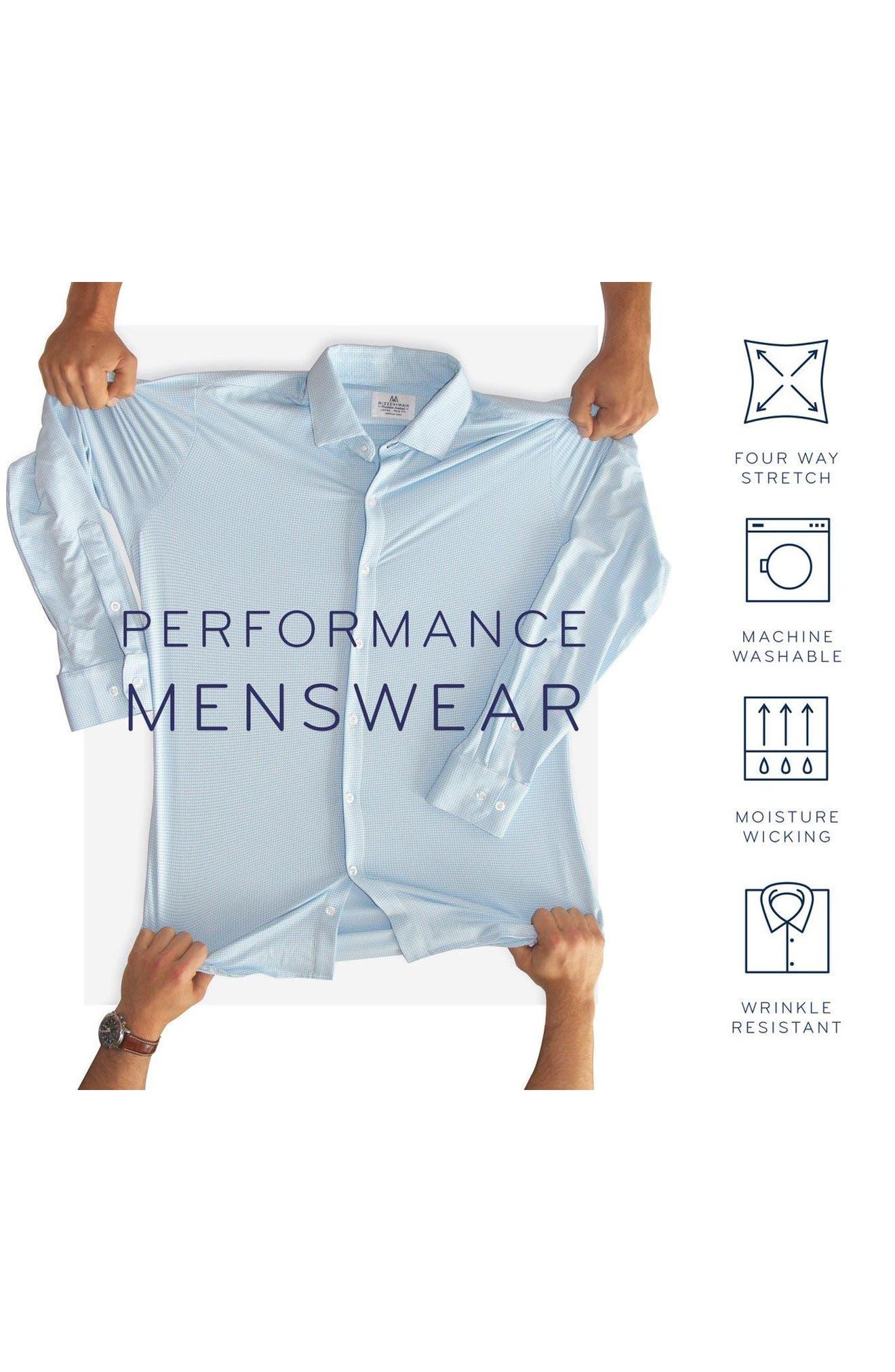 Charles Microcheck Performance Sport Shirt,                             Alternate thumbnail 6, color,                             Peach