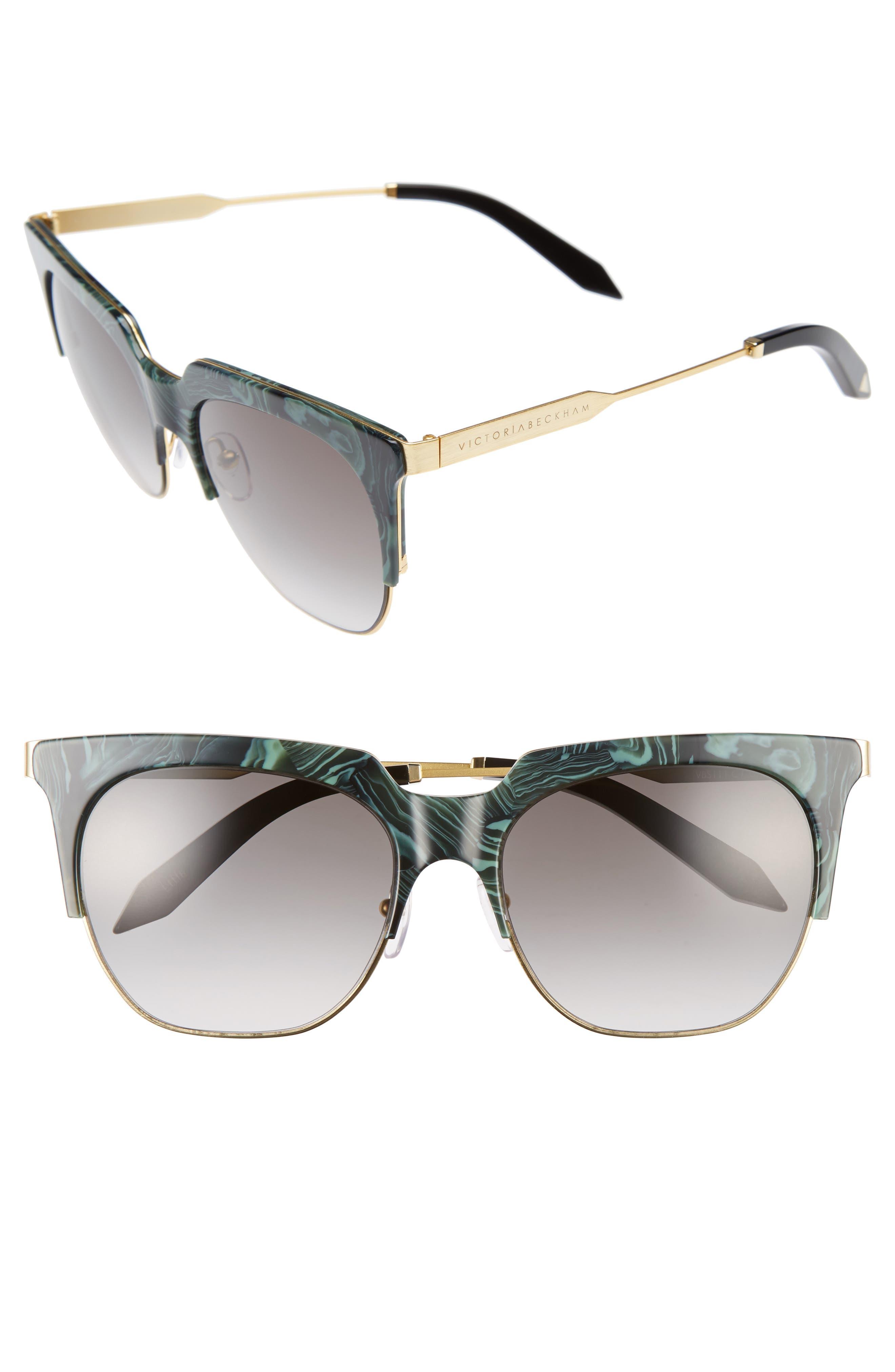 Victoria Beckham Layered Combination 57mm Square Sunglasses