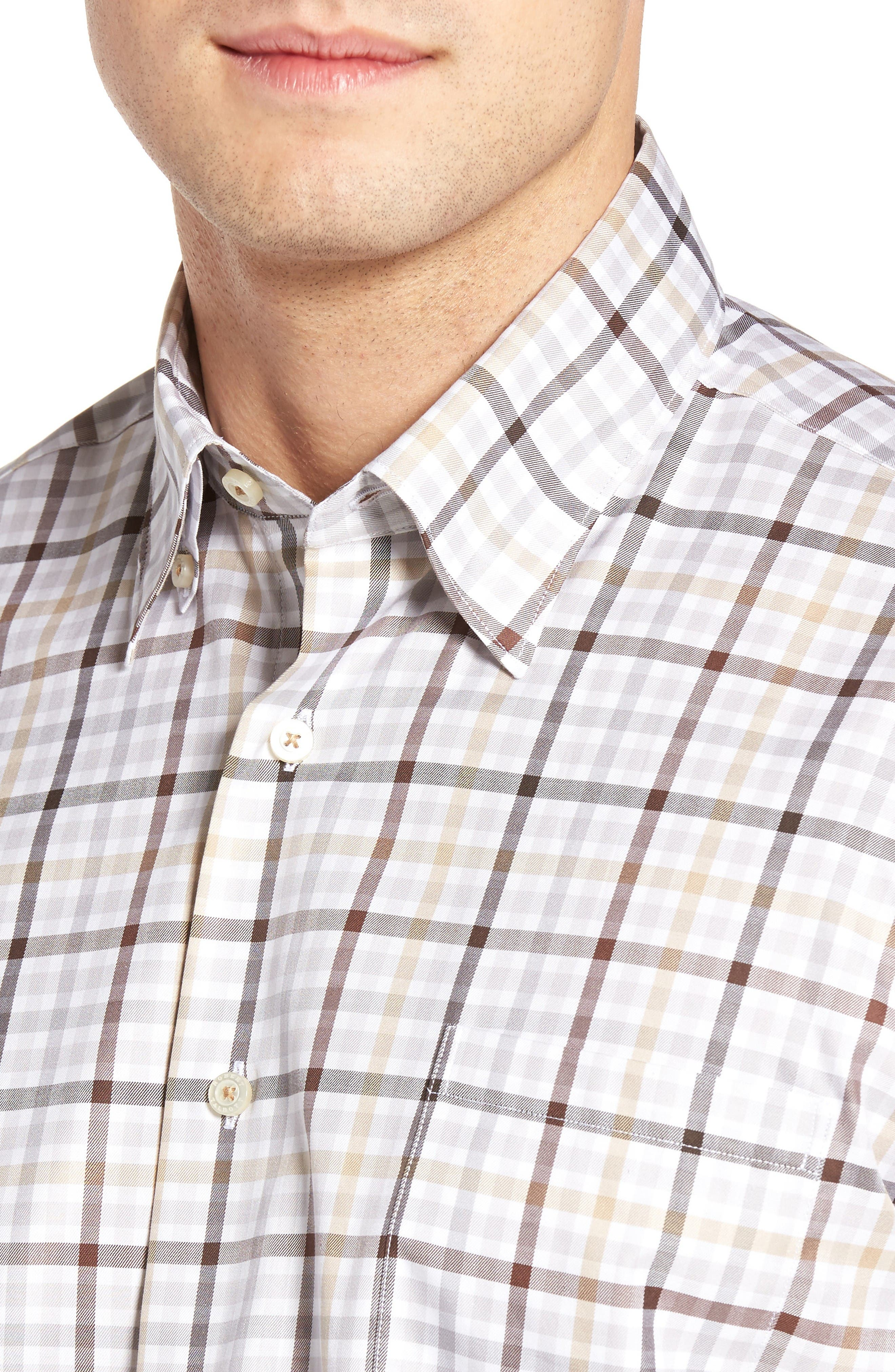 Anderson Classic Fit Plaid Micro Twill Sport Shirt,                             Alternate thumbnail 4, color,                             201