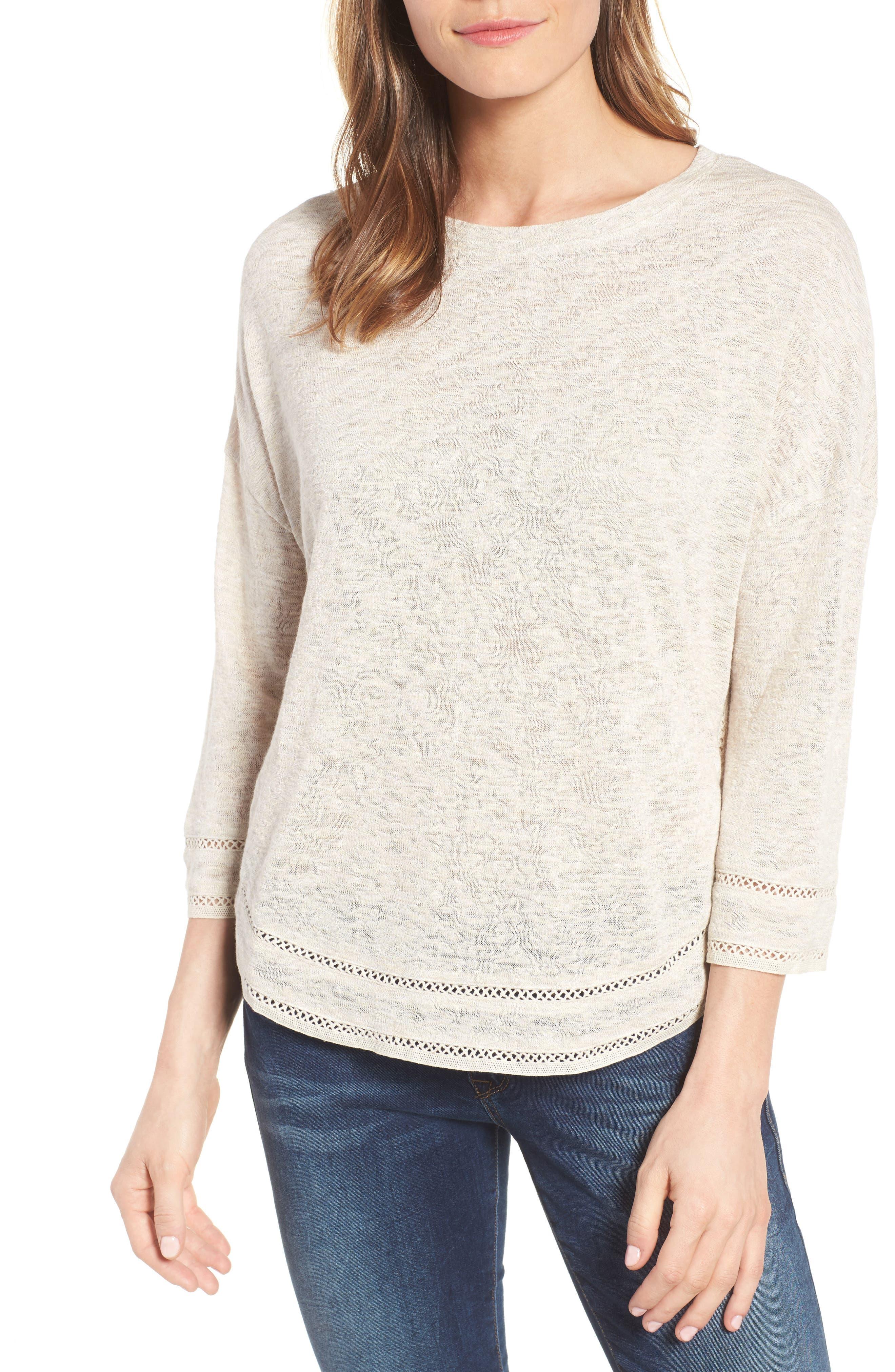 CASLON<SUP>®</SUP> Shirttail Hem Knit Pullover