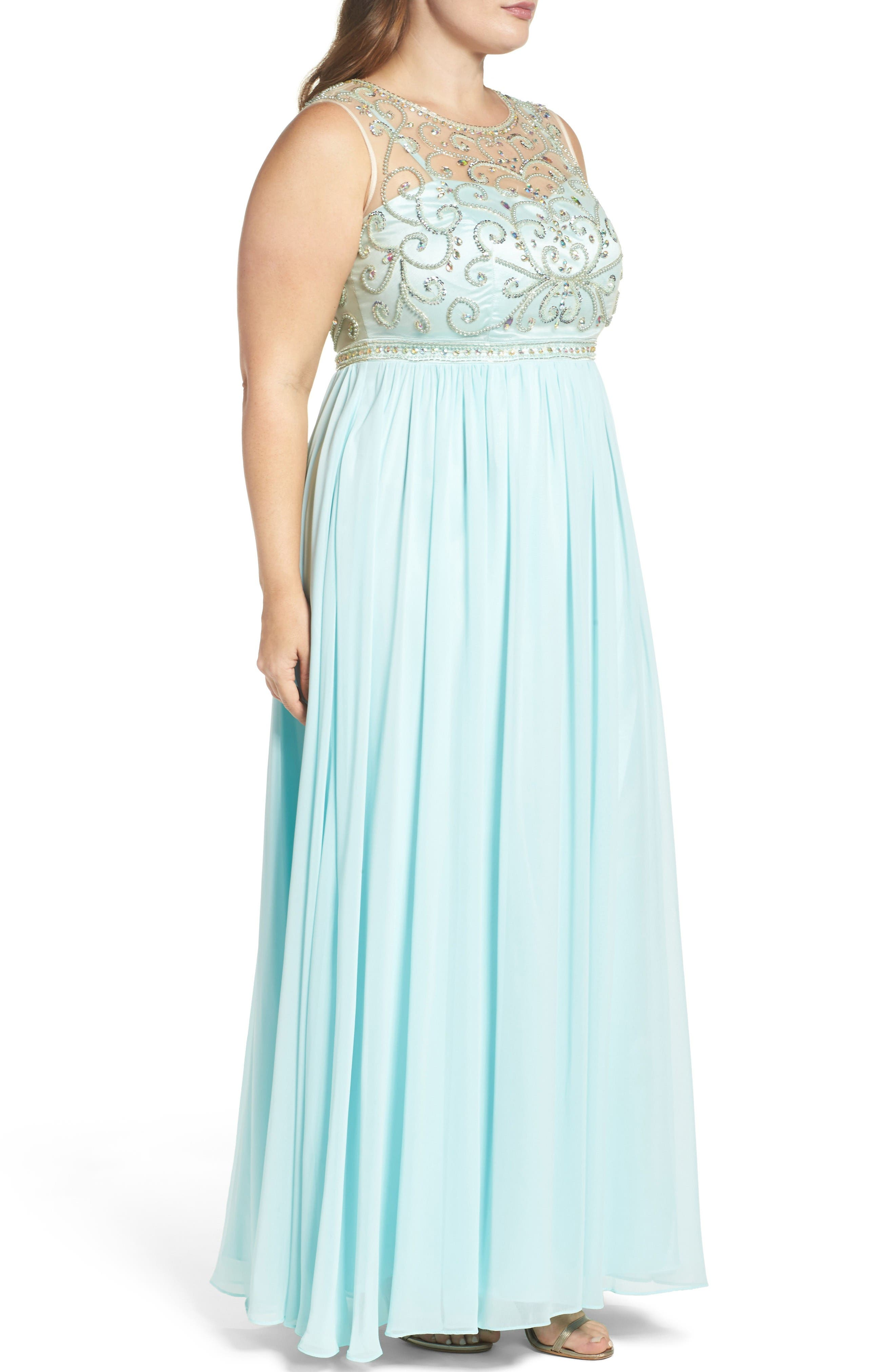 Beaded Illusion A-Line Gown,                             Alternate thumbnail 3, color,                             Mint