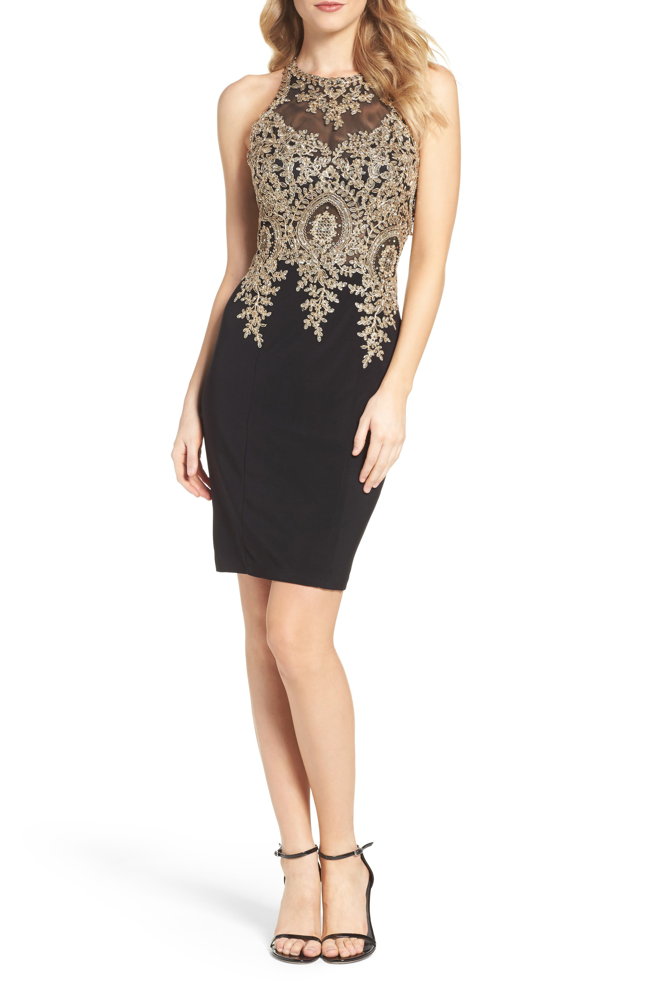 Embroidered Sheath Dress,                         Main,                         color, Black/ Gold