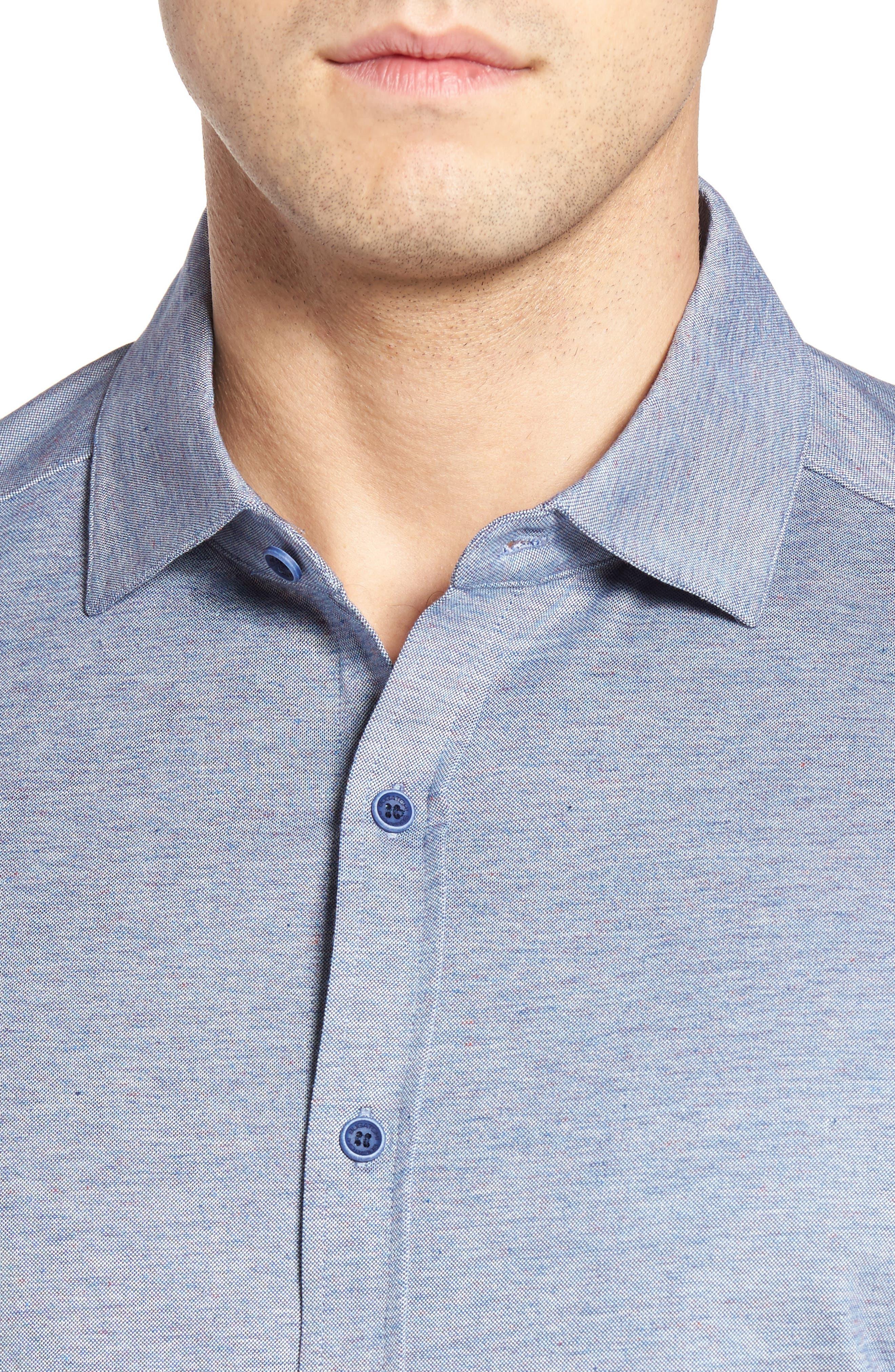 Alternate Image 4  - Bugatchi Shaped Fit Knit Sport Shirt