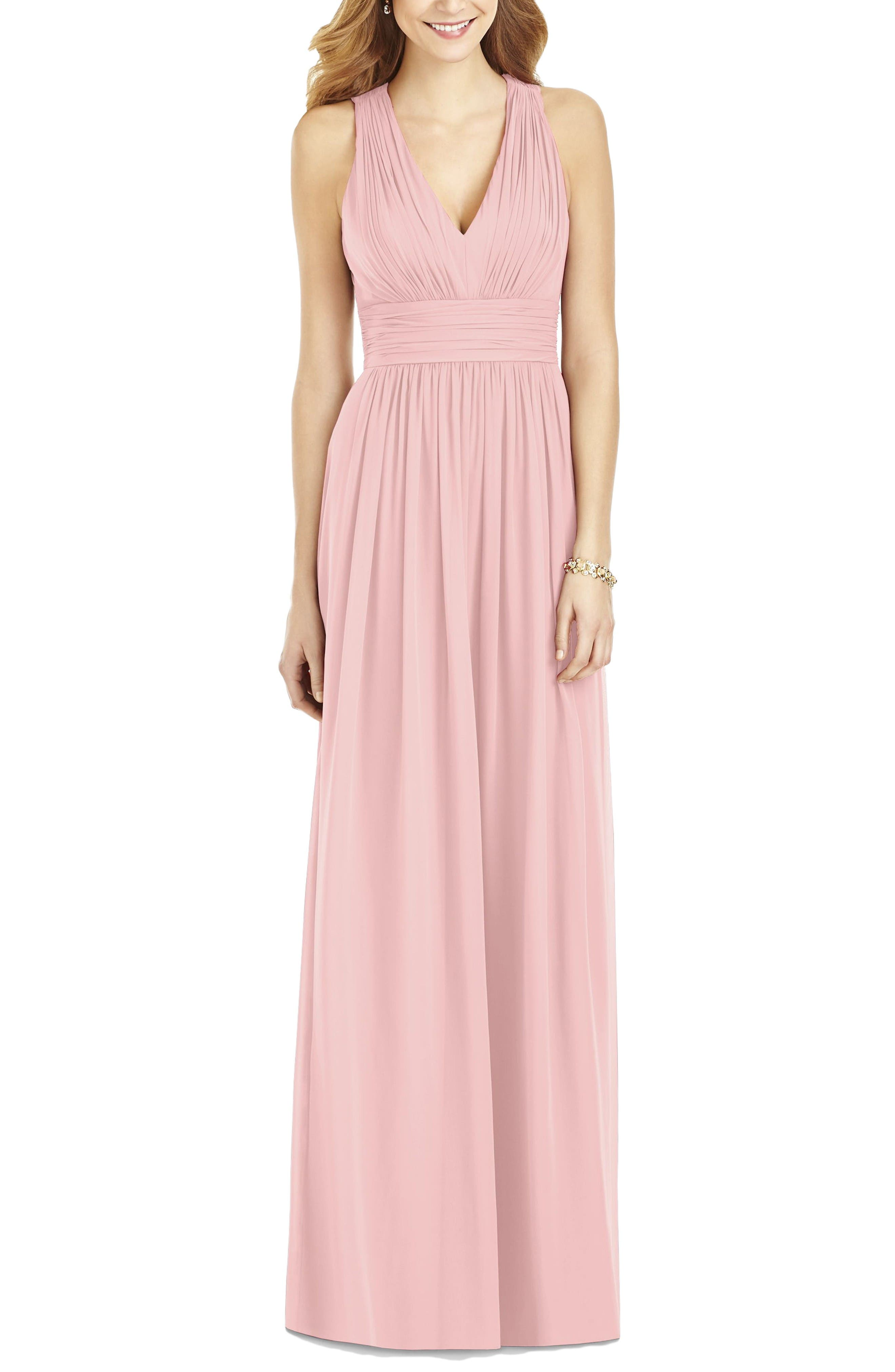 Crisscross Back Ruched Chiffon V-Neck Gown,                             Main thumbnail 1, color,                             Rose