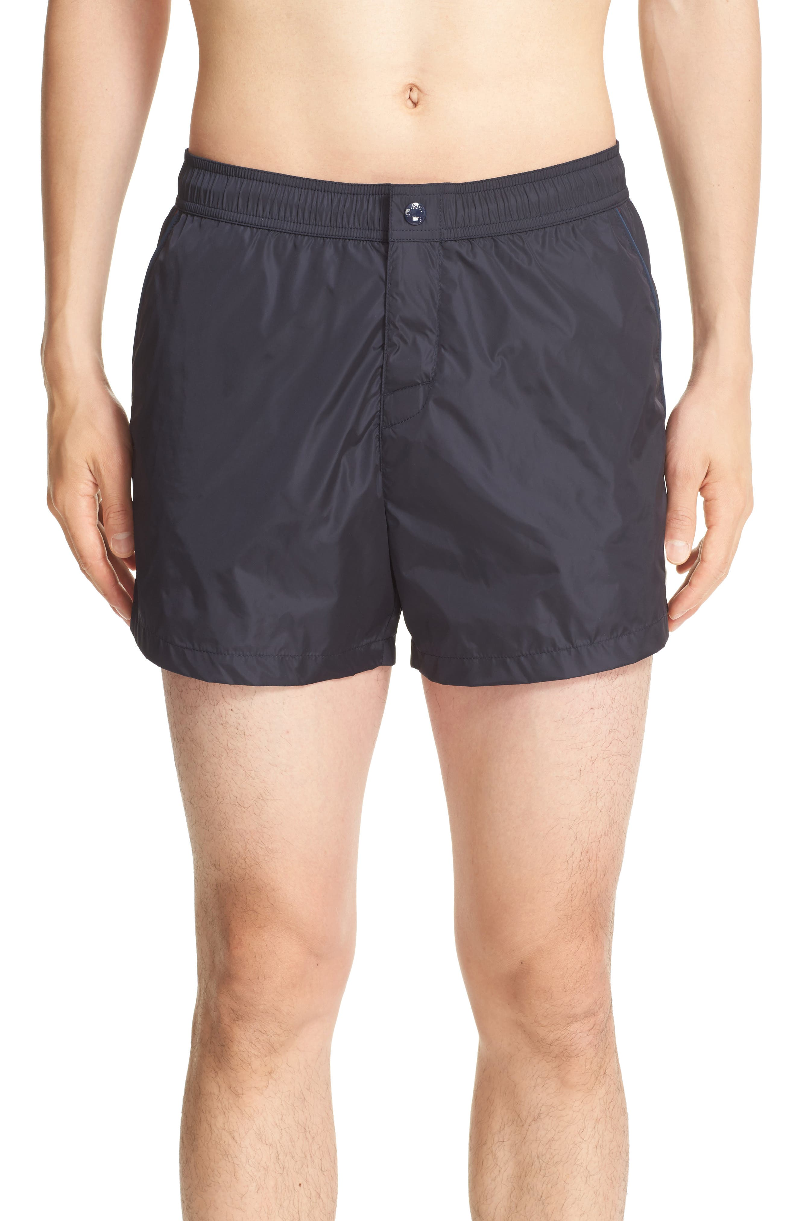 Piped Swim Trunks,                             Main thumbnail 1, color,                             Navy