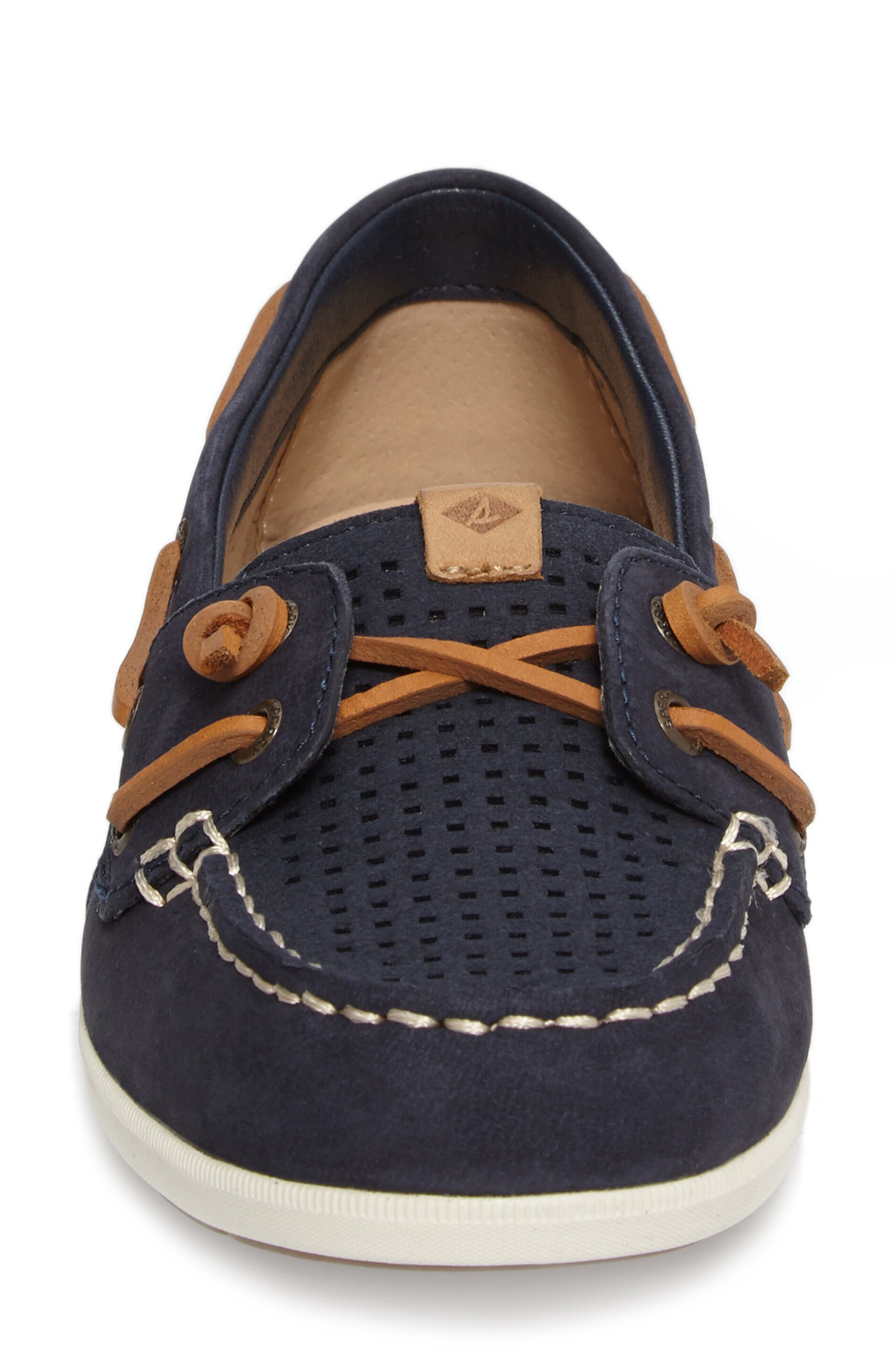 Coil Ivy Boat Shoe,                             Alternate thumbnail 4, color,                             Navy Leather